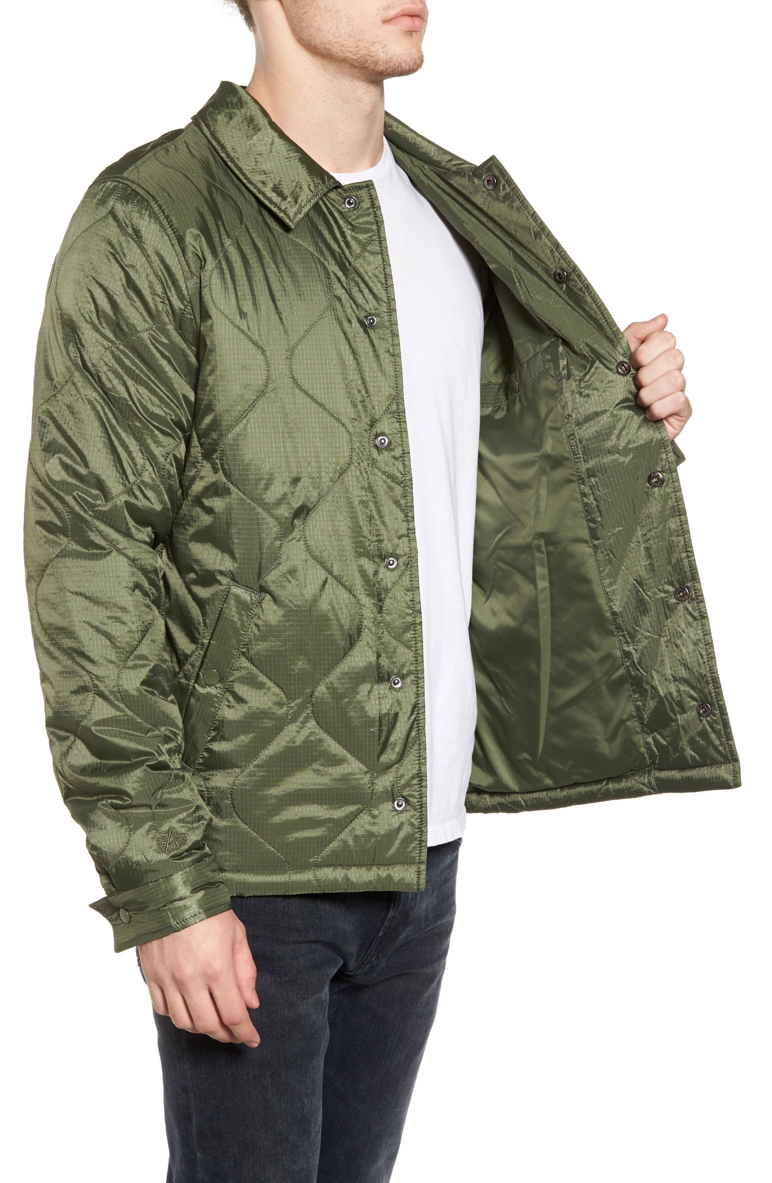 Quilted Storm Cruiser Jacket,                             Alternate thumbnail 3, color,                             Sage