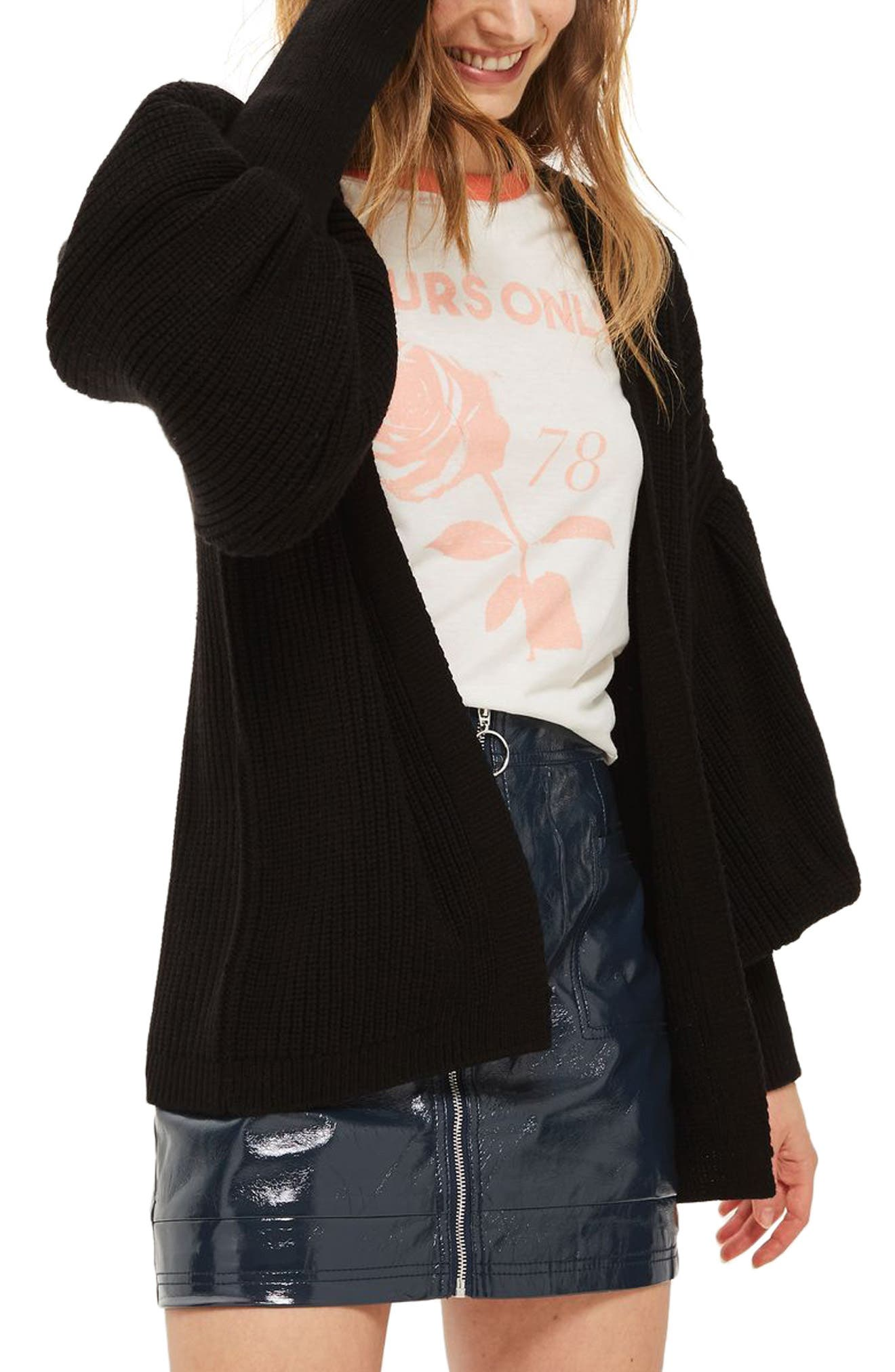 Topshop Pleated Balloon Sleeve Cardigan