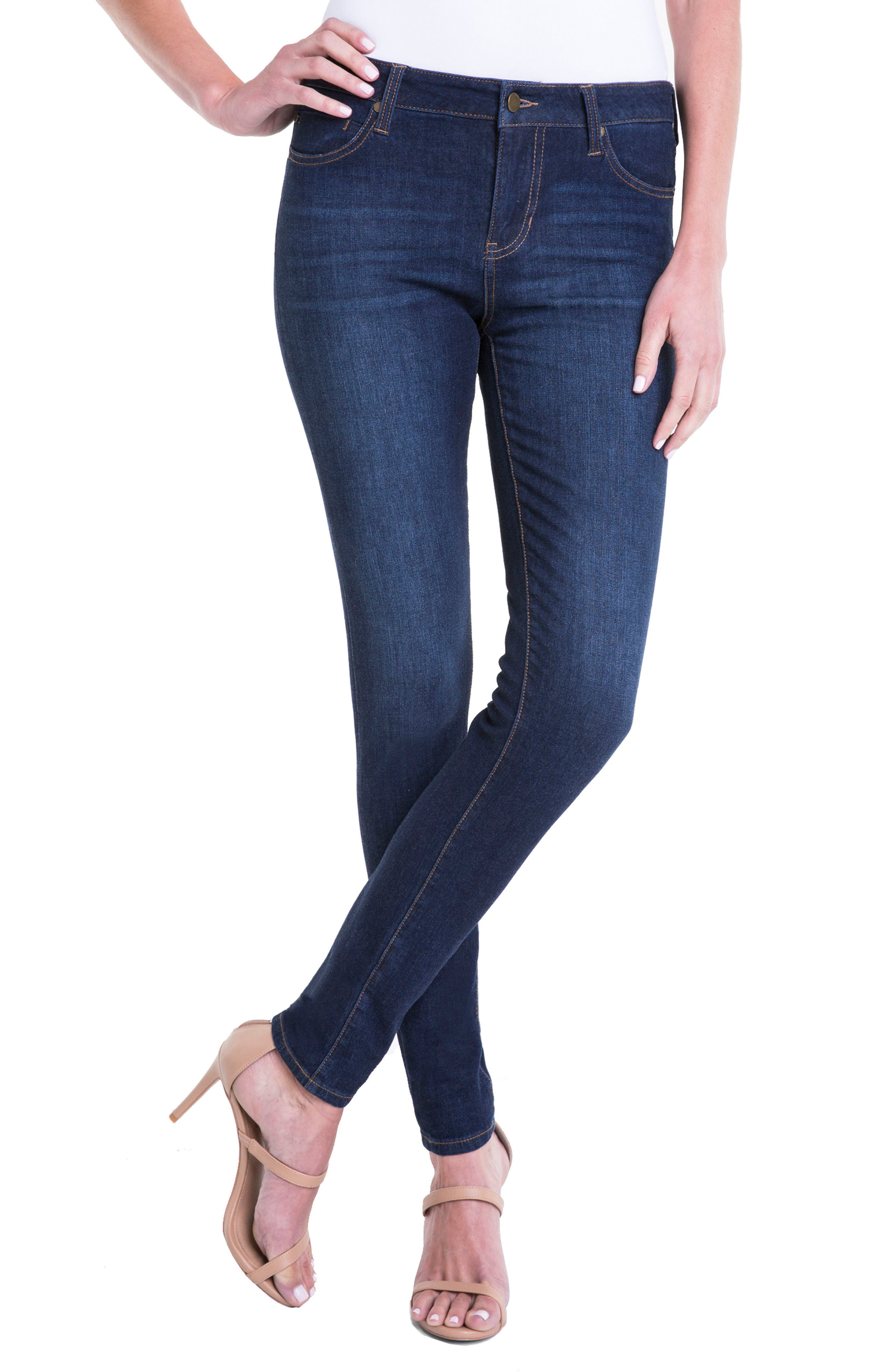 Abby Stretch Curvy Fit Skinny Jeans,                             Main thumbnail 1, color,                             Dark Blue