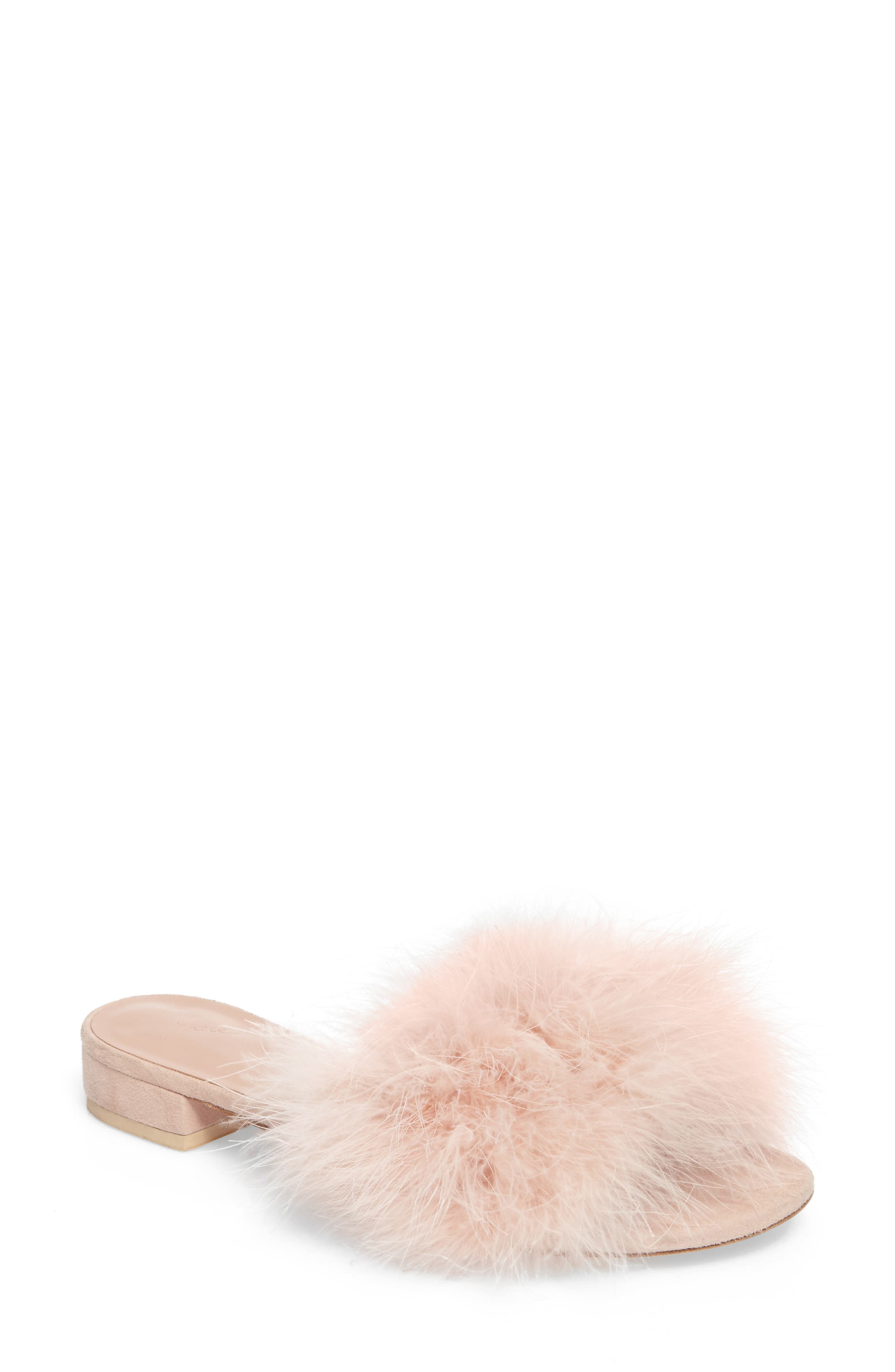 Mani Feather Slide Sandal,                             Main thumbnail 1, color,                             Ballet