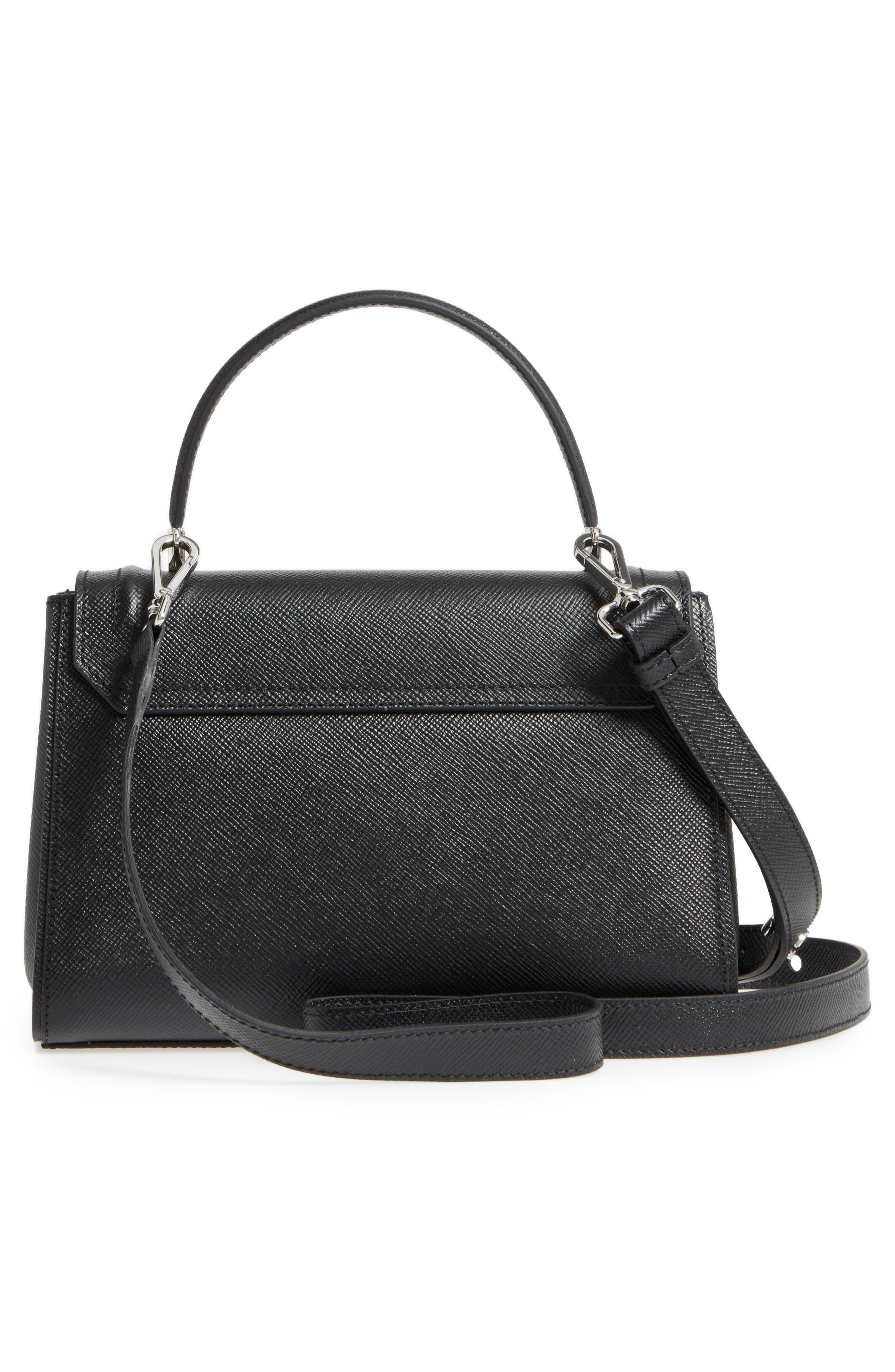 Small Elena Leather Satchel,                             Alternate thumbnail 3, color,                             Black