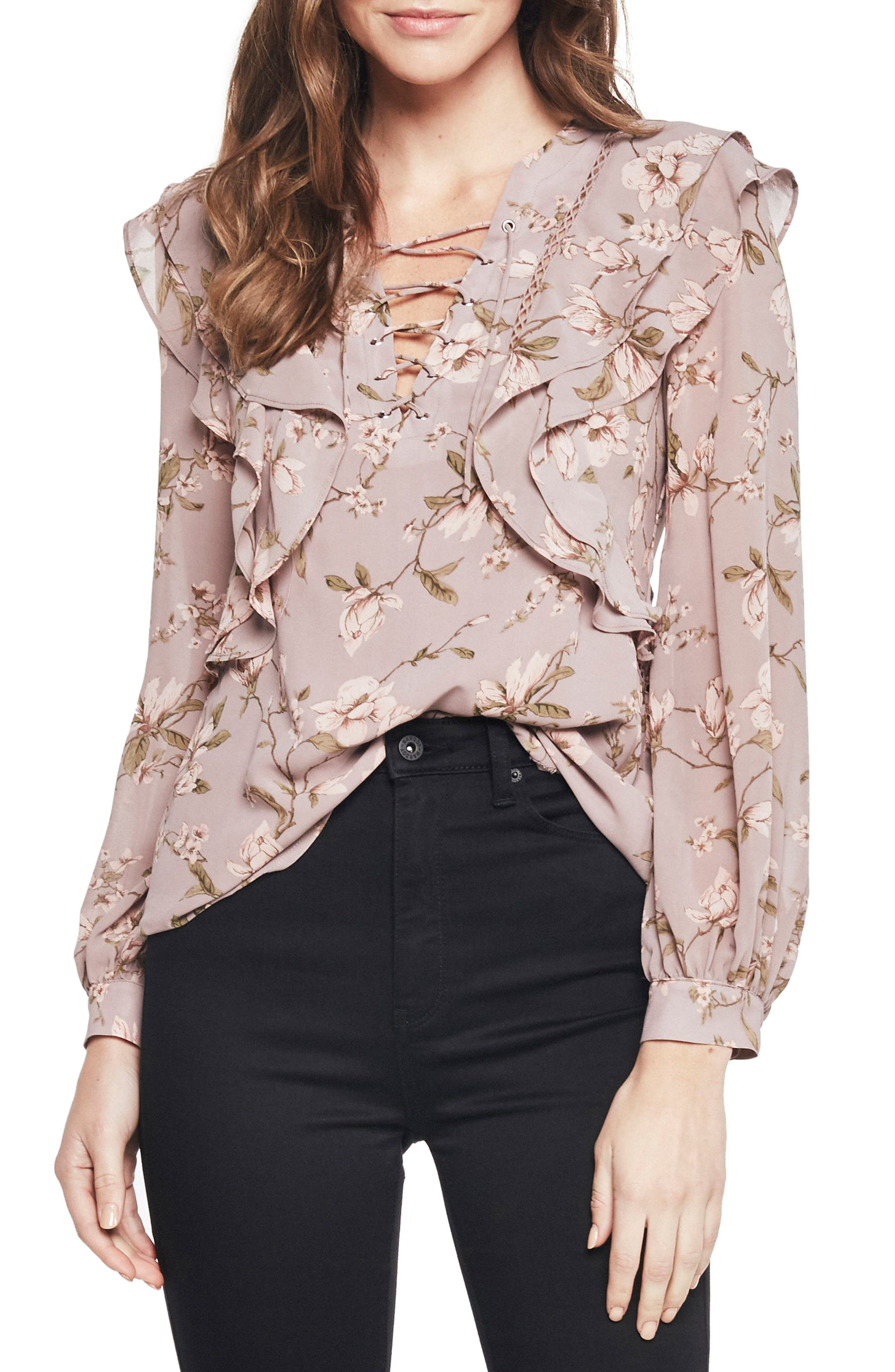 Frill Top,                         Main,                         color, Dove Floral