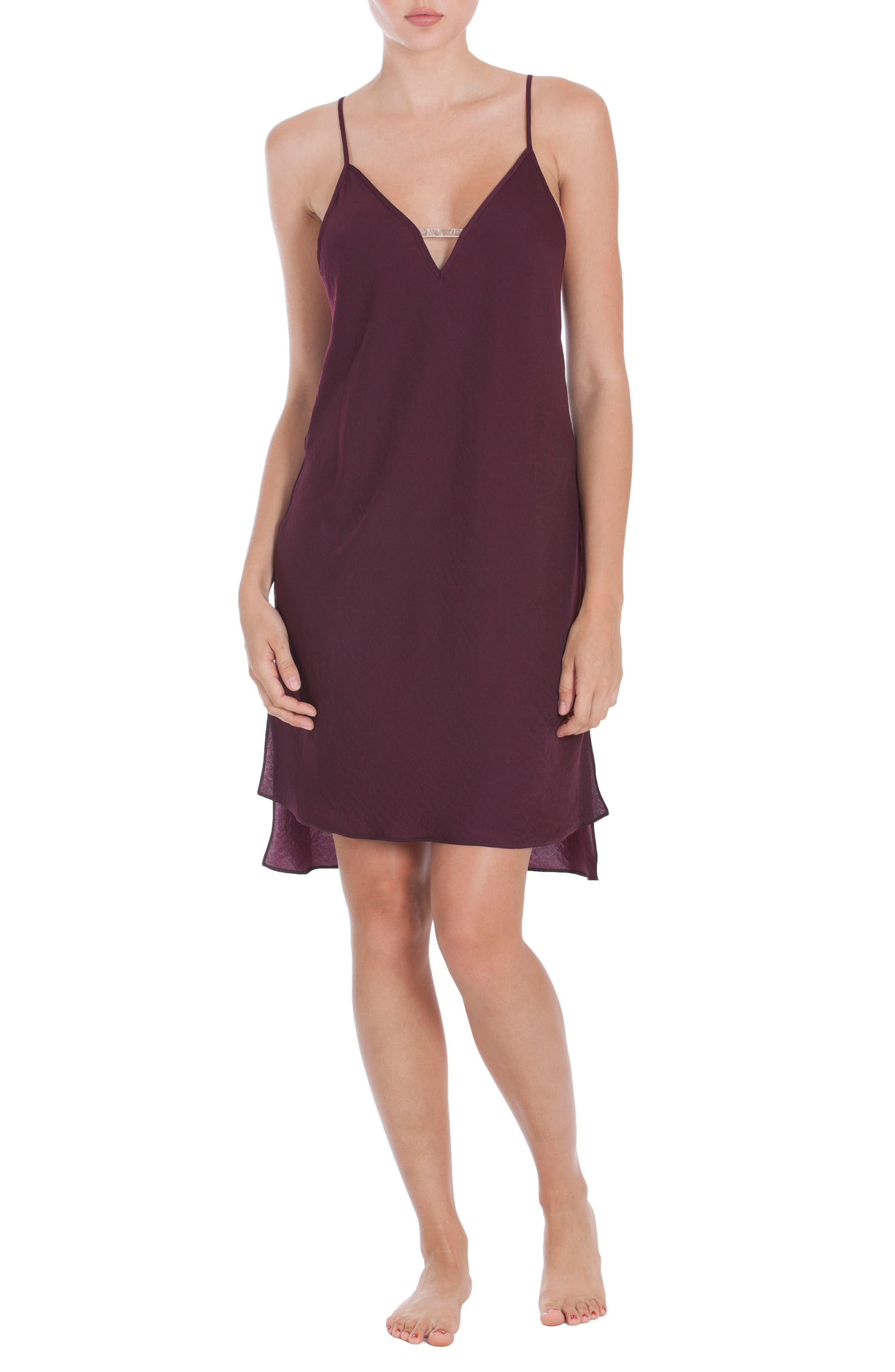 Satin Nightgown,                             Alternate thumbnail 4, color,                             Wine