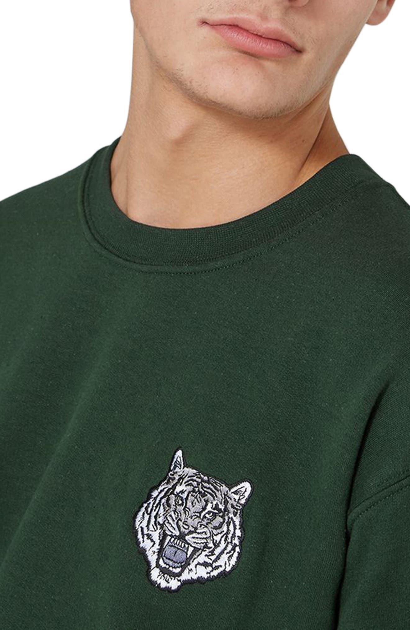 Tiger Patch Sweatshirt,                             Alternate thumbnail 3, color,                             Olive