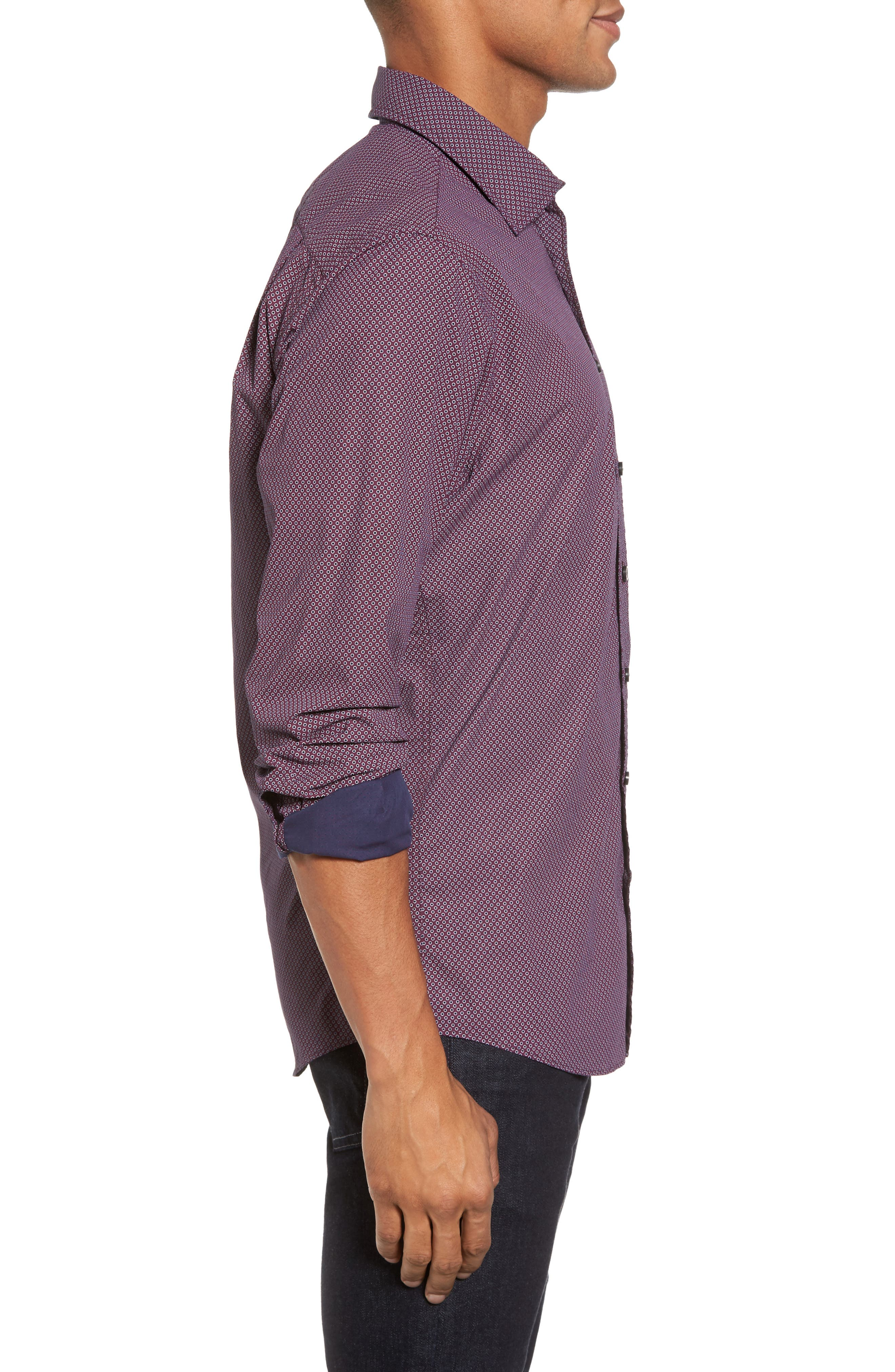 Ingleton Regular Fit Dot Sport Shirt,                             Alternate thumbnail 3, color,                             Merlot