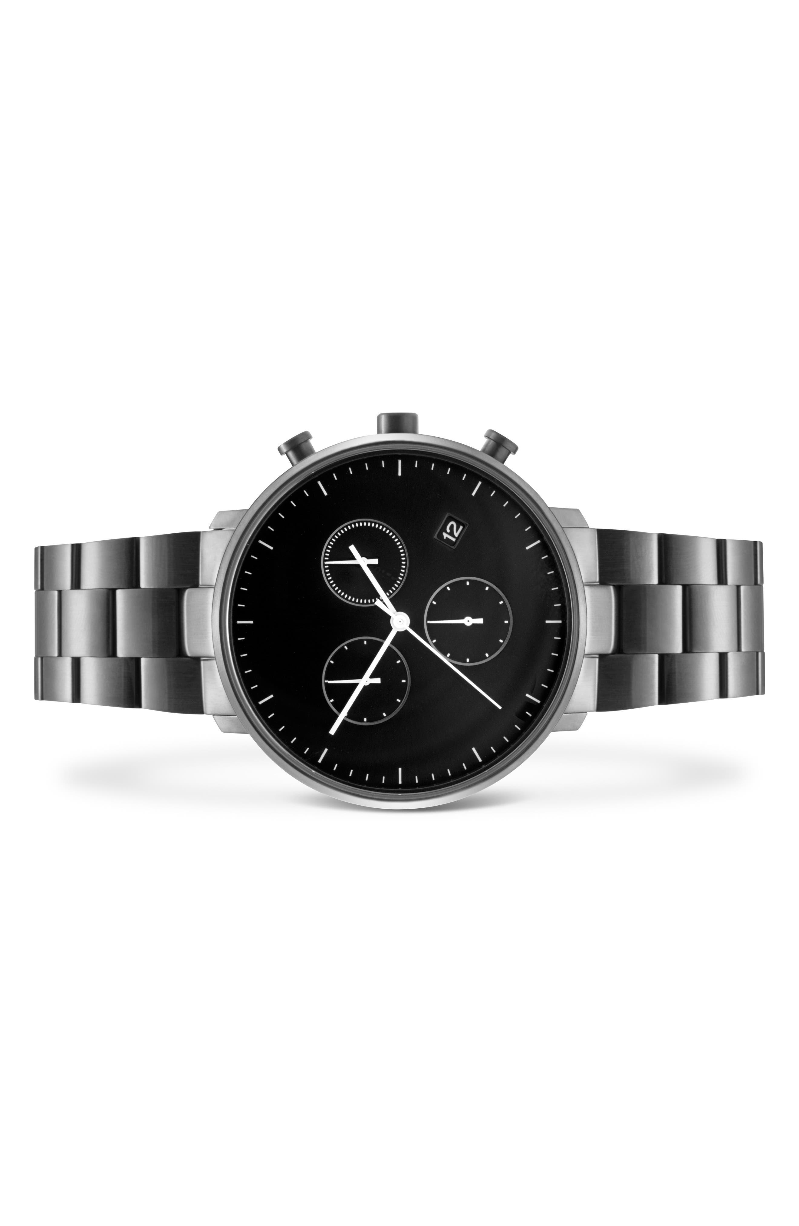 Leonard & Church Bleeker Chronograph Bracelet Watch, 40mm,                             Alternate thumbnail 2, color,                             Black