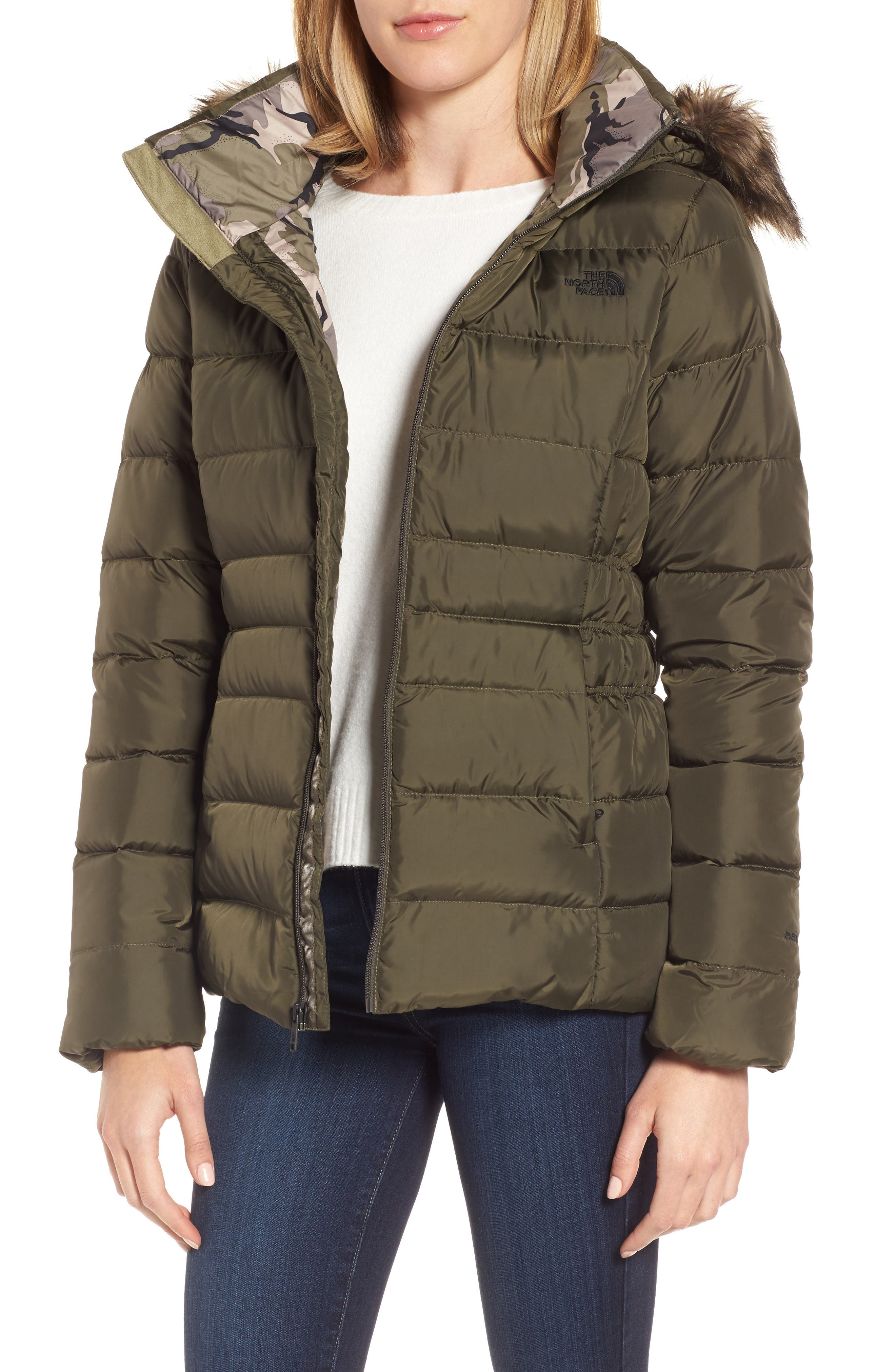 Gotham II Hooded Water Resistant 550-Fill-Power Down Jacket with Faux Fur Trim,                         Main,                         color, New Taupe Green