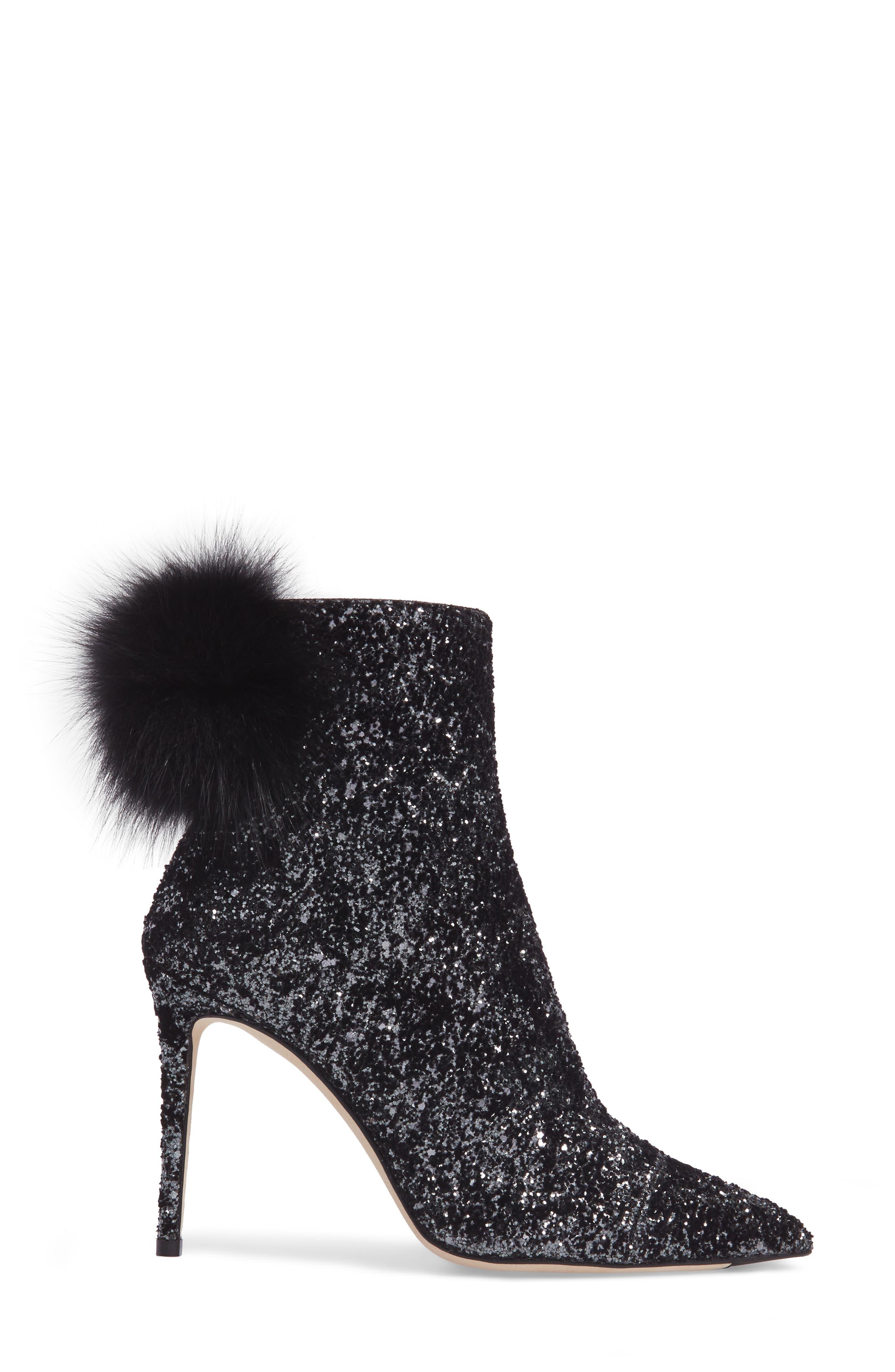 Tesler Genuine Fox Fur Bootie,                             Alternate thumbnail 3, color,                             Anthracite/ Black/ Black