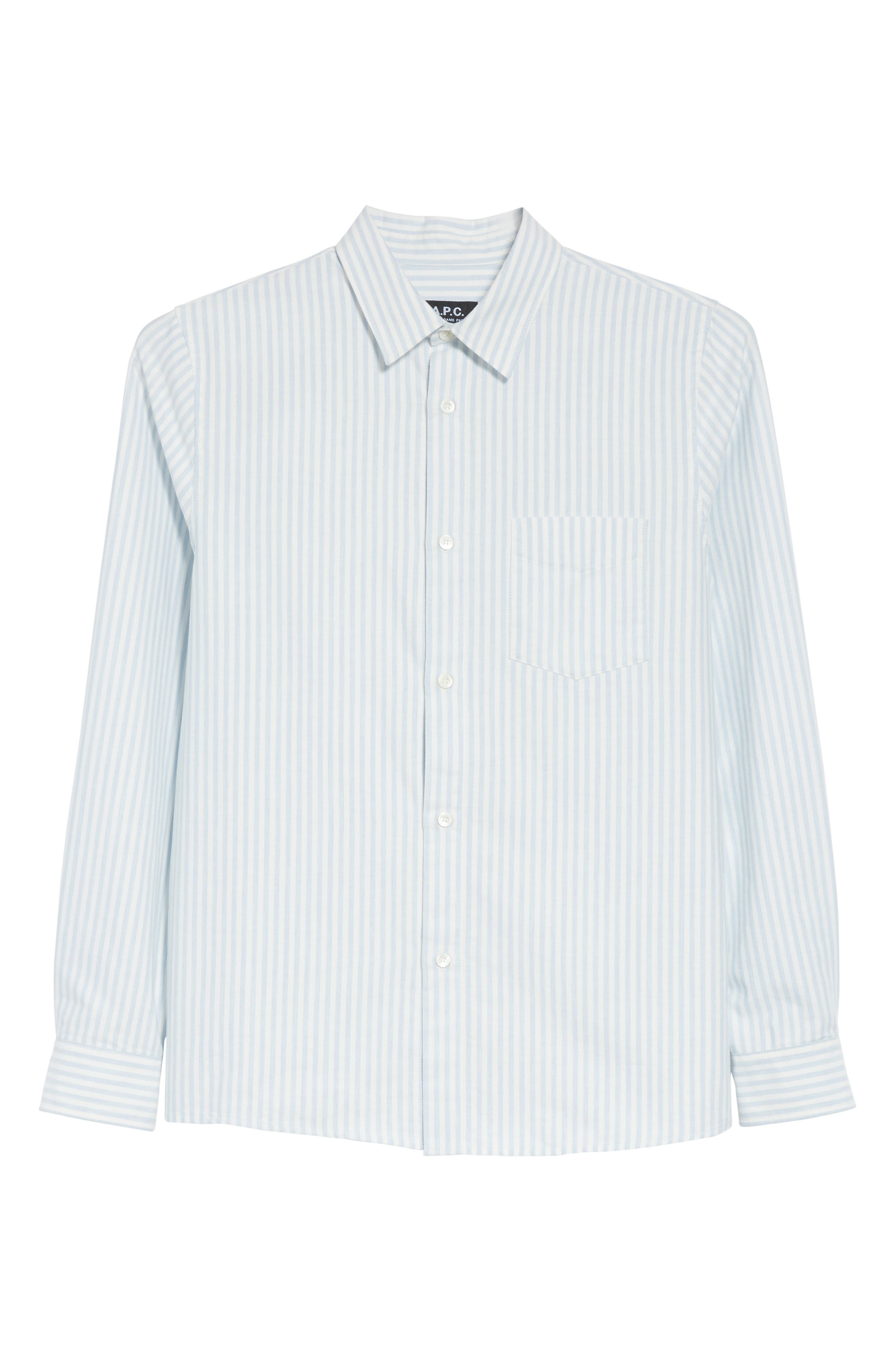 Oliver Stripe Oxford Shirt,                             Alternate thumbnail 6, color,                             Blue