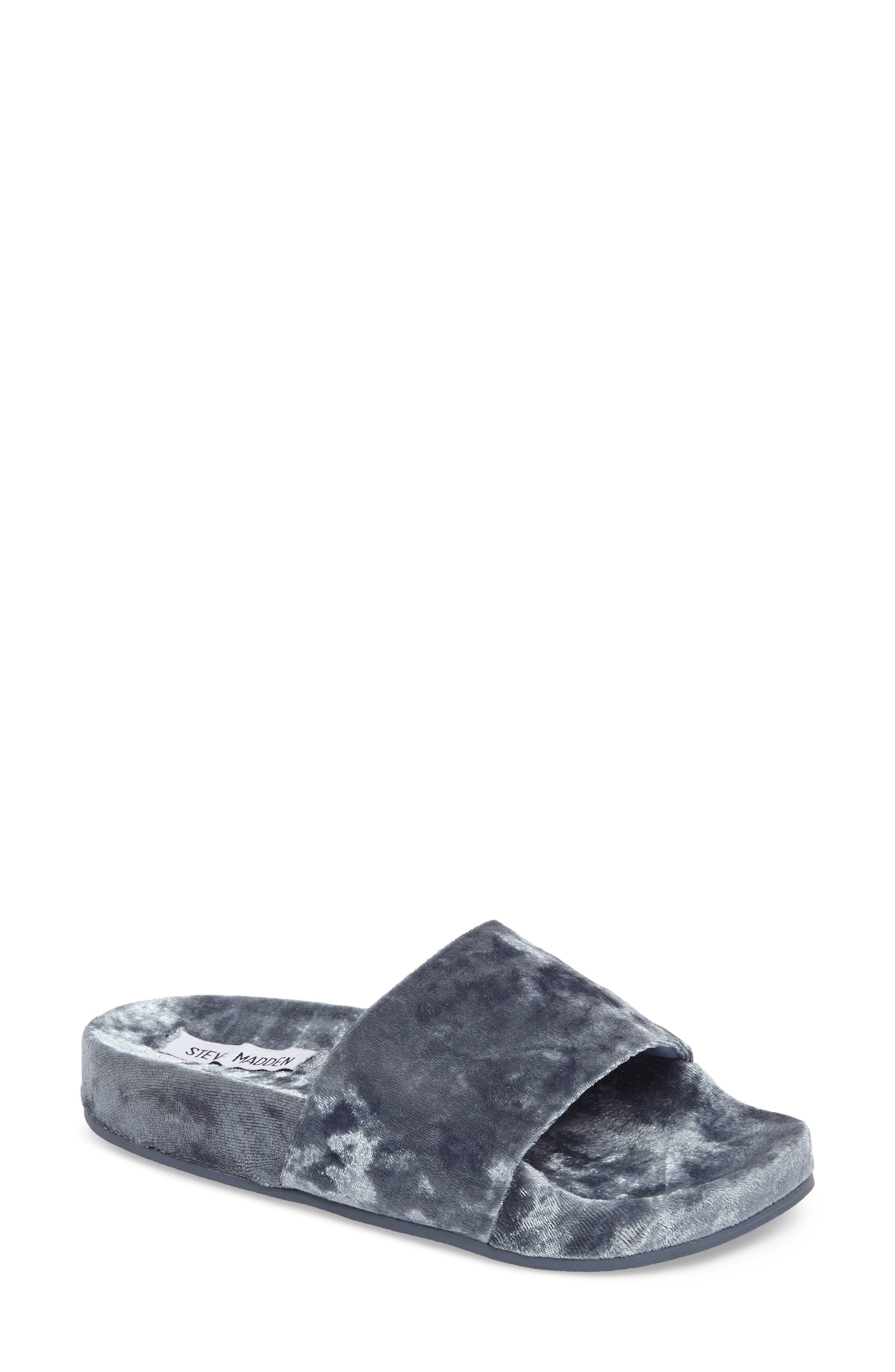 Main Image - Steve Madden Slush Velvet Slide Sandal (Women)