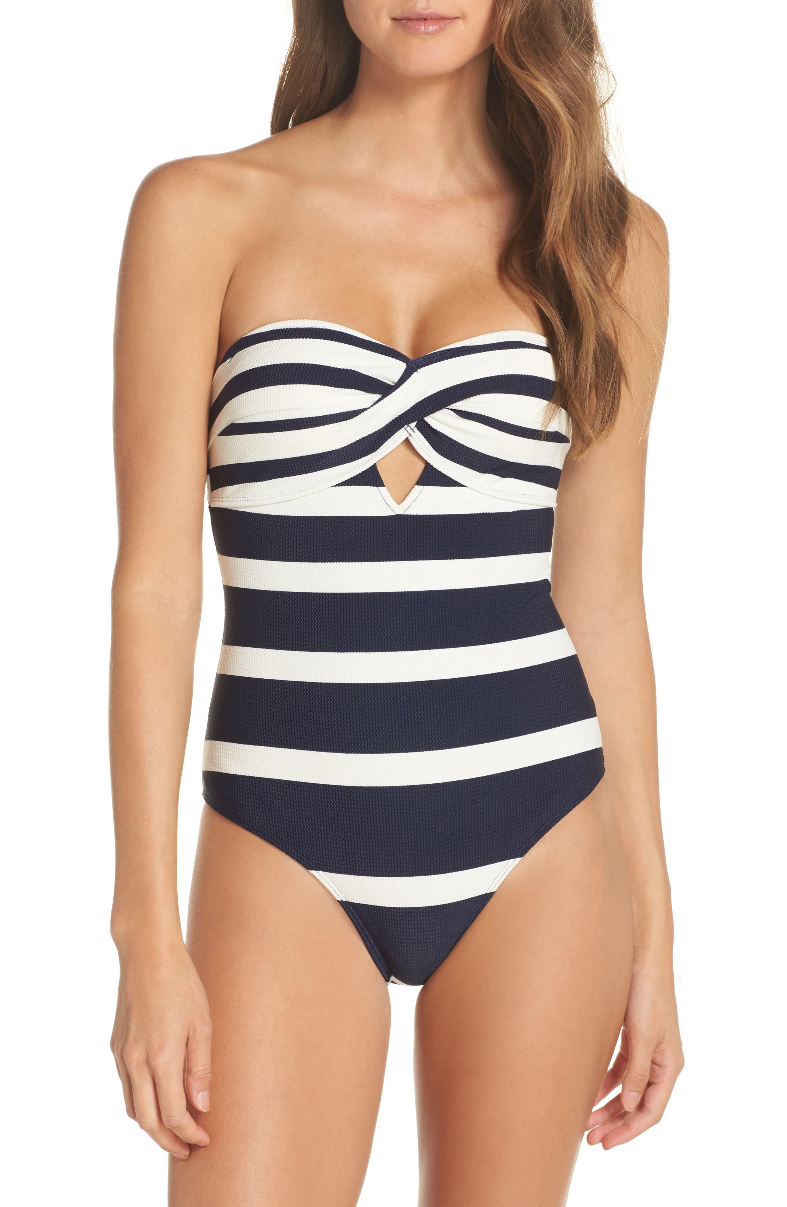 Ted Baker London Stripe Cutout Halter Swimsuit