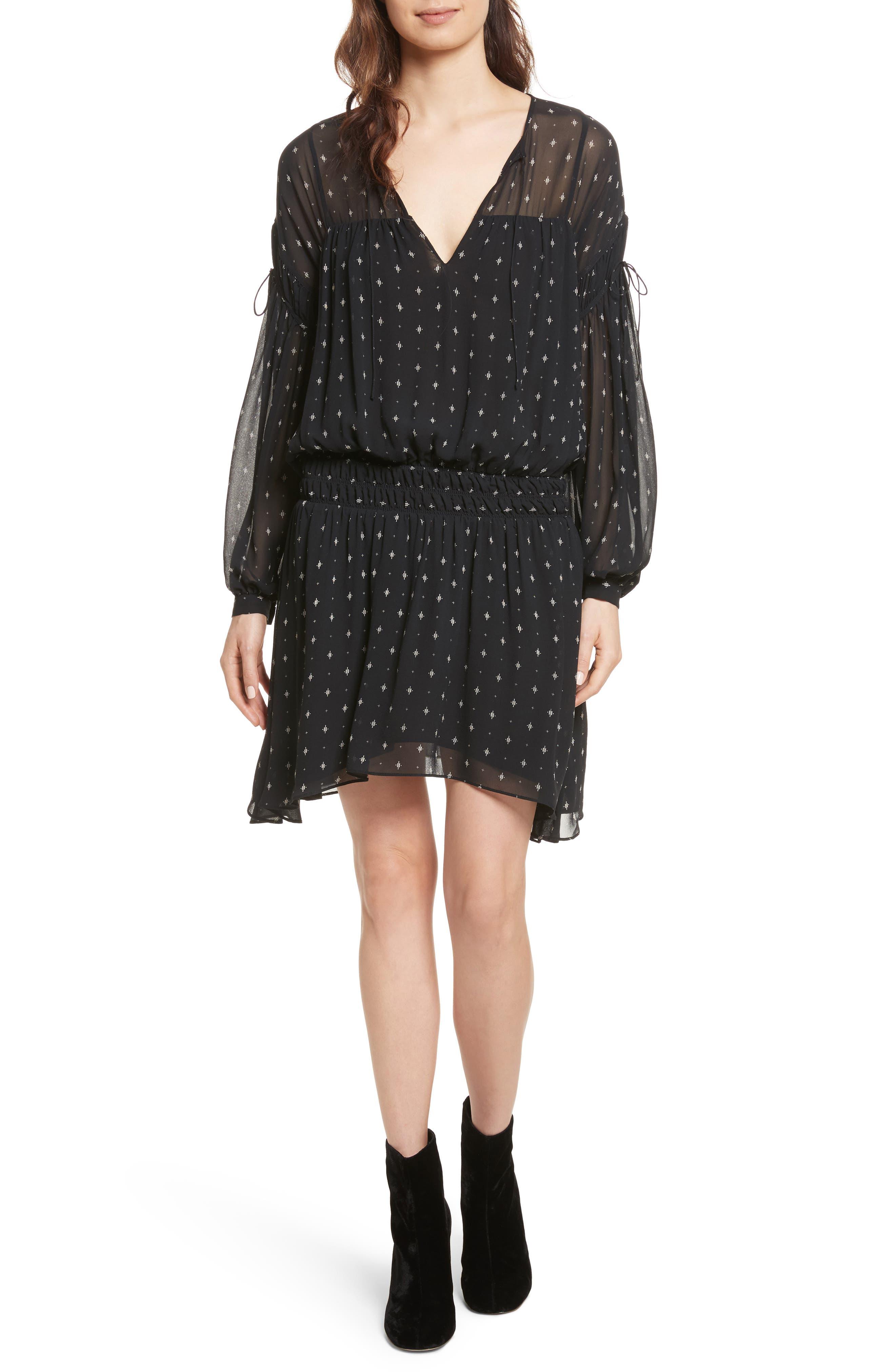 Academia Tie-Sleeve Silk Minidress,                         Main,                         color, Caviar