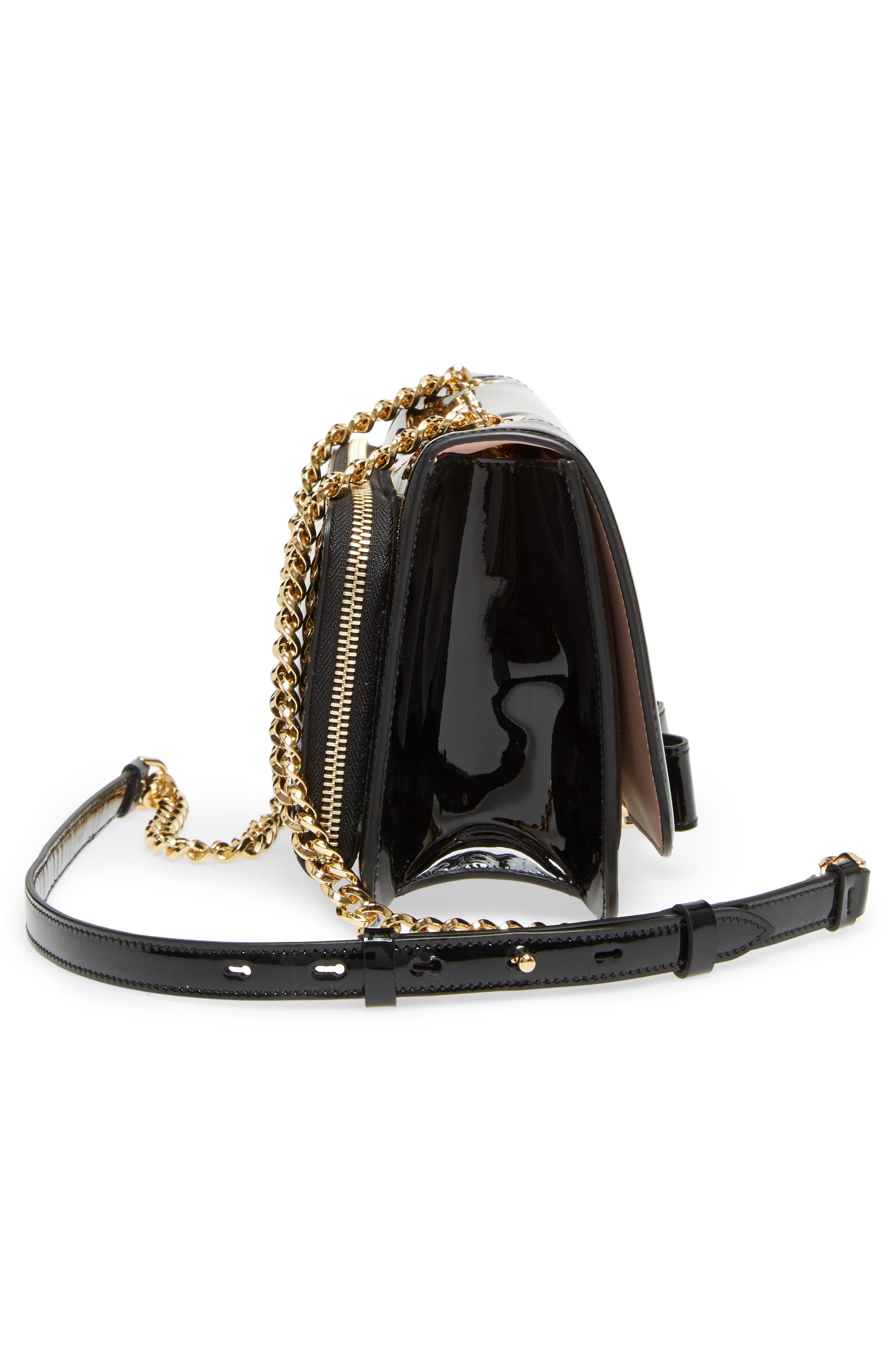 Vara Patent Leather Shoulder Bag,                             Alternate thumbnail 5, color,                             Nero/ Bonbon