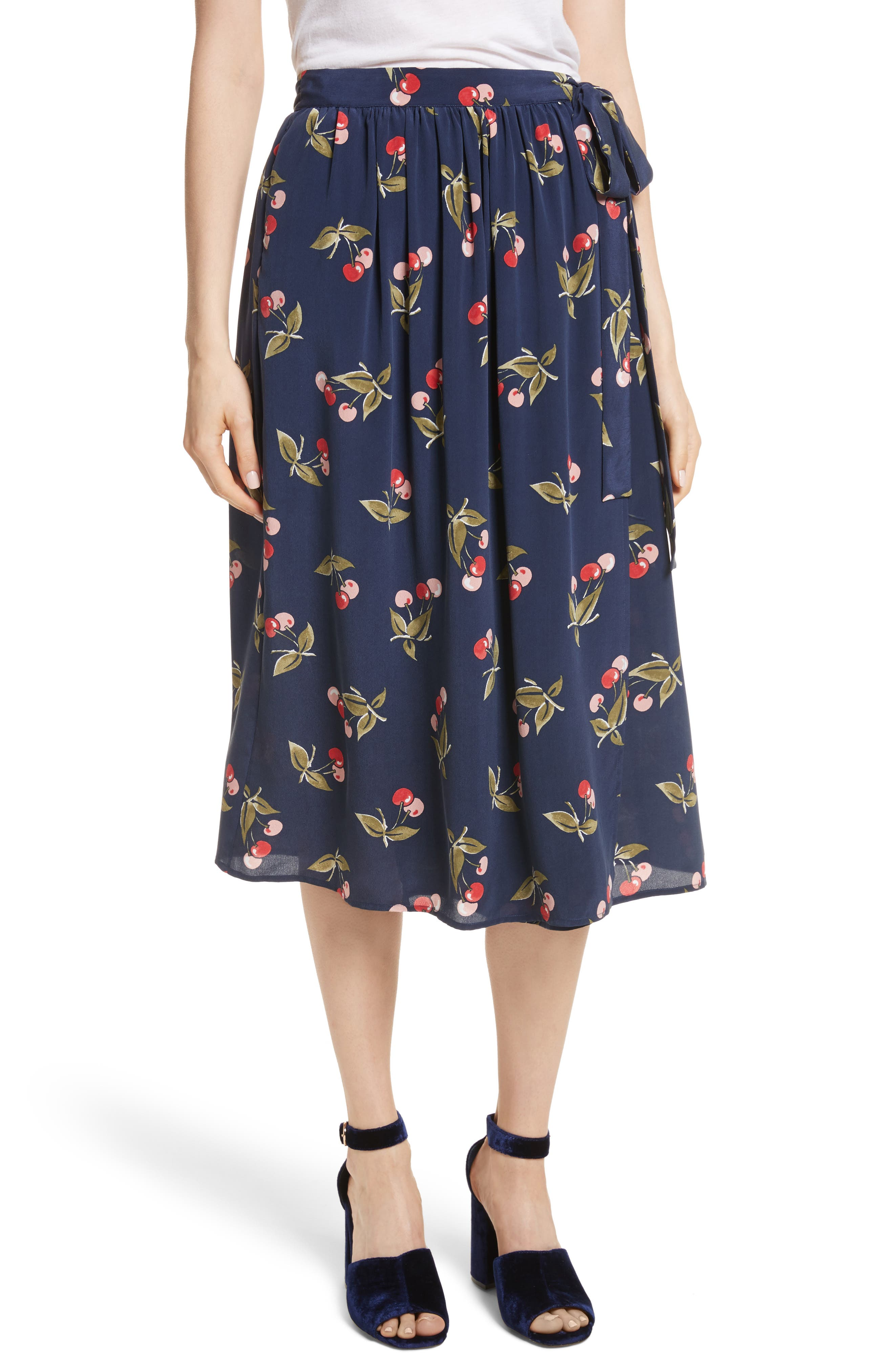 Almudena Cherry Print Silk Wrap Skirt,                         Main,                         color, Dark Navy