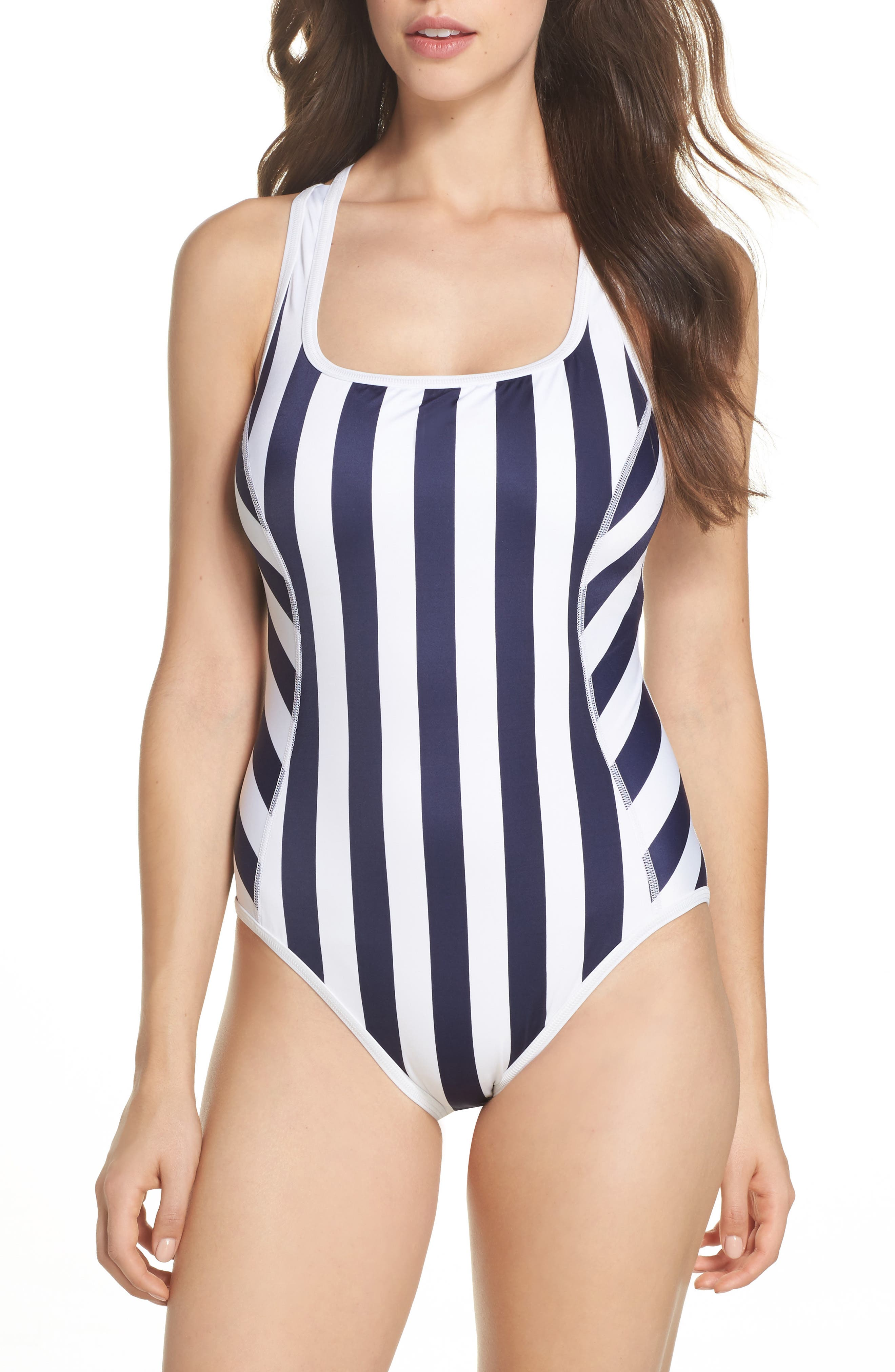 Island Active One-Piece Swimsuit,                         Main,                         color, Mare Navy