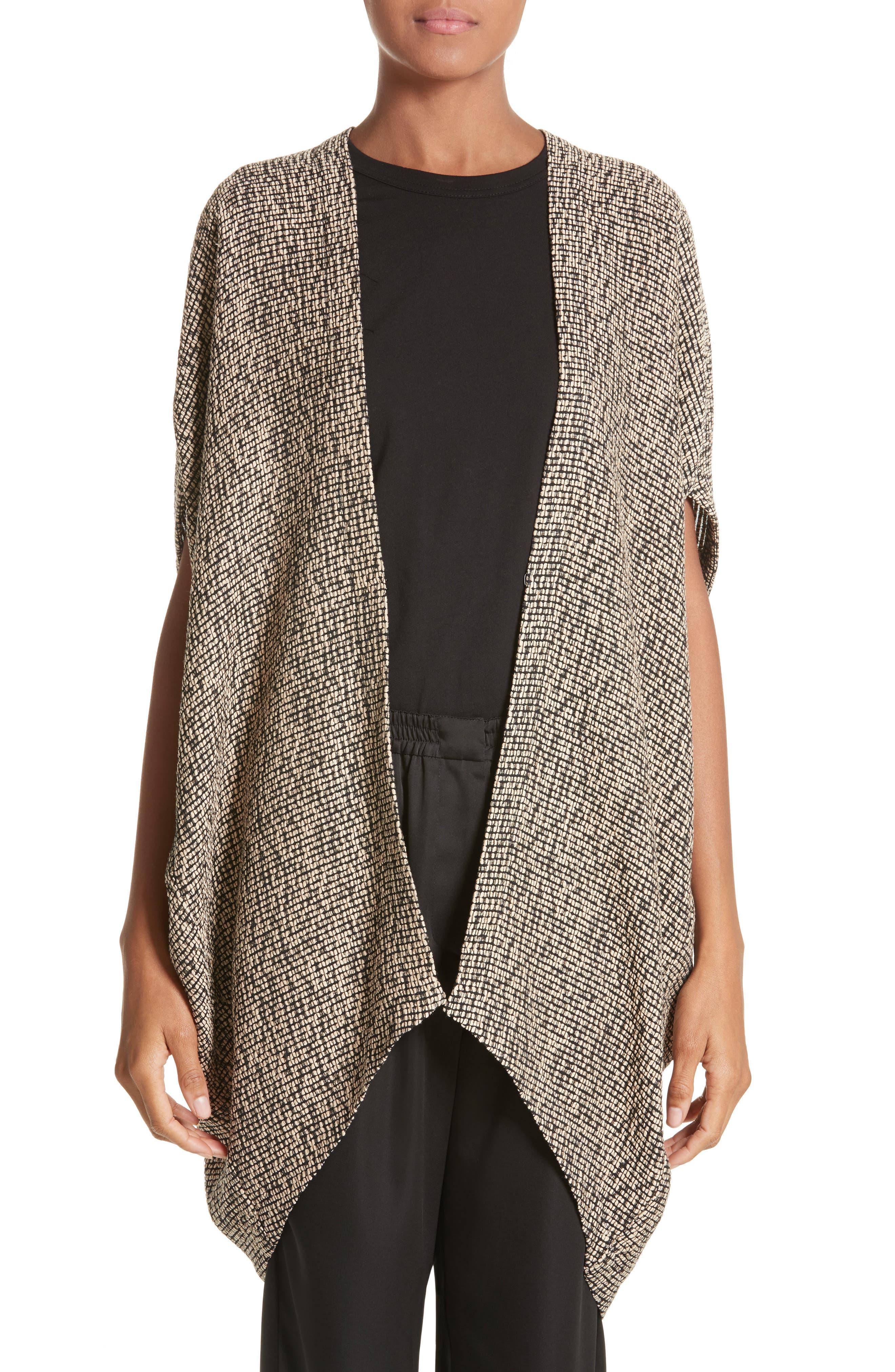 Open Weave Sweater,                         Main,                         color, Black/Greige