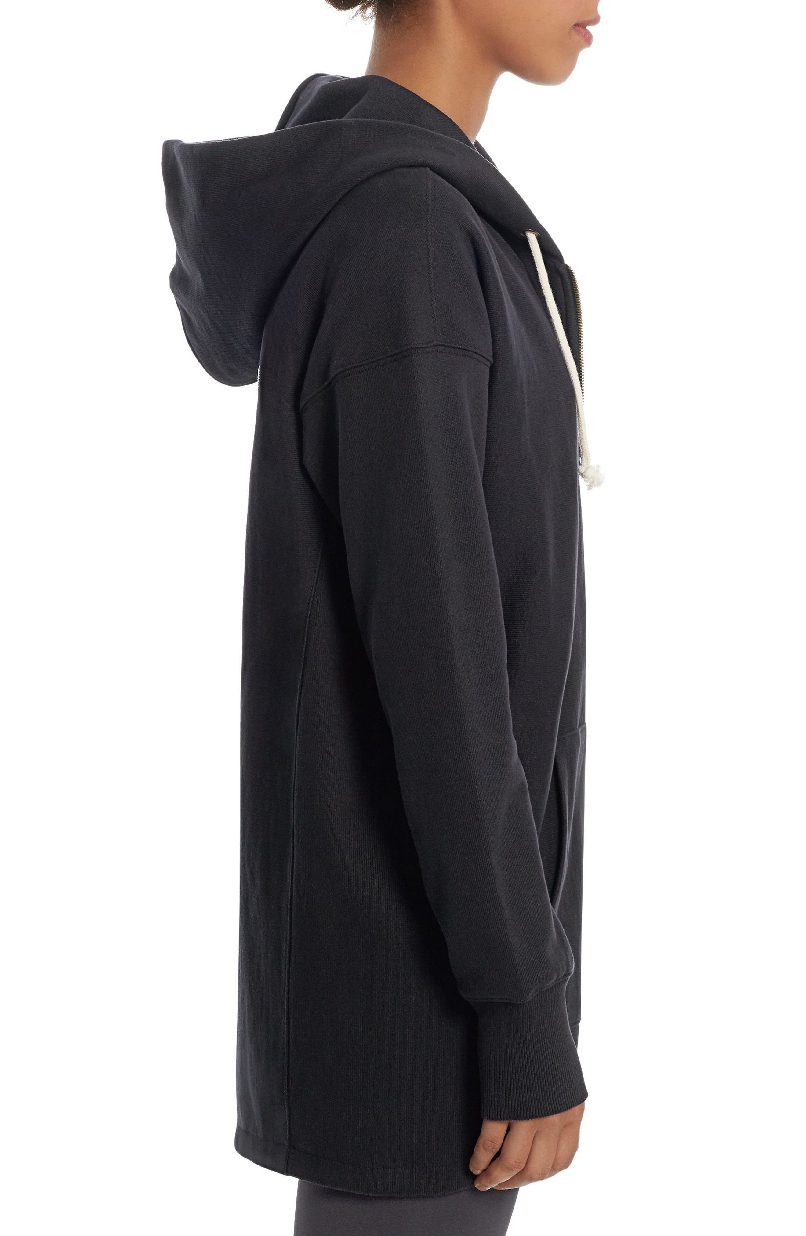 Reverse Weave<sup>®</sup> Maxi Terry Zip Hoodie,                             Alternate thumbnail 3, color,                             Black
