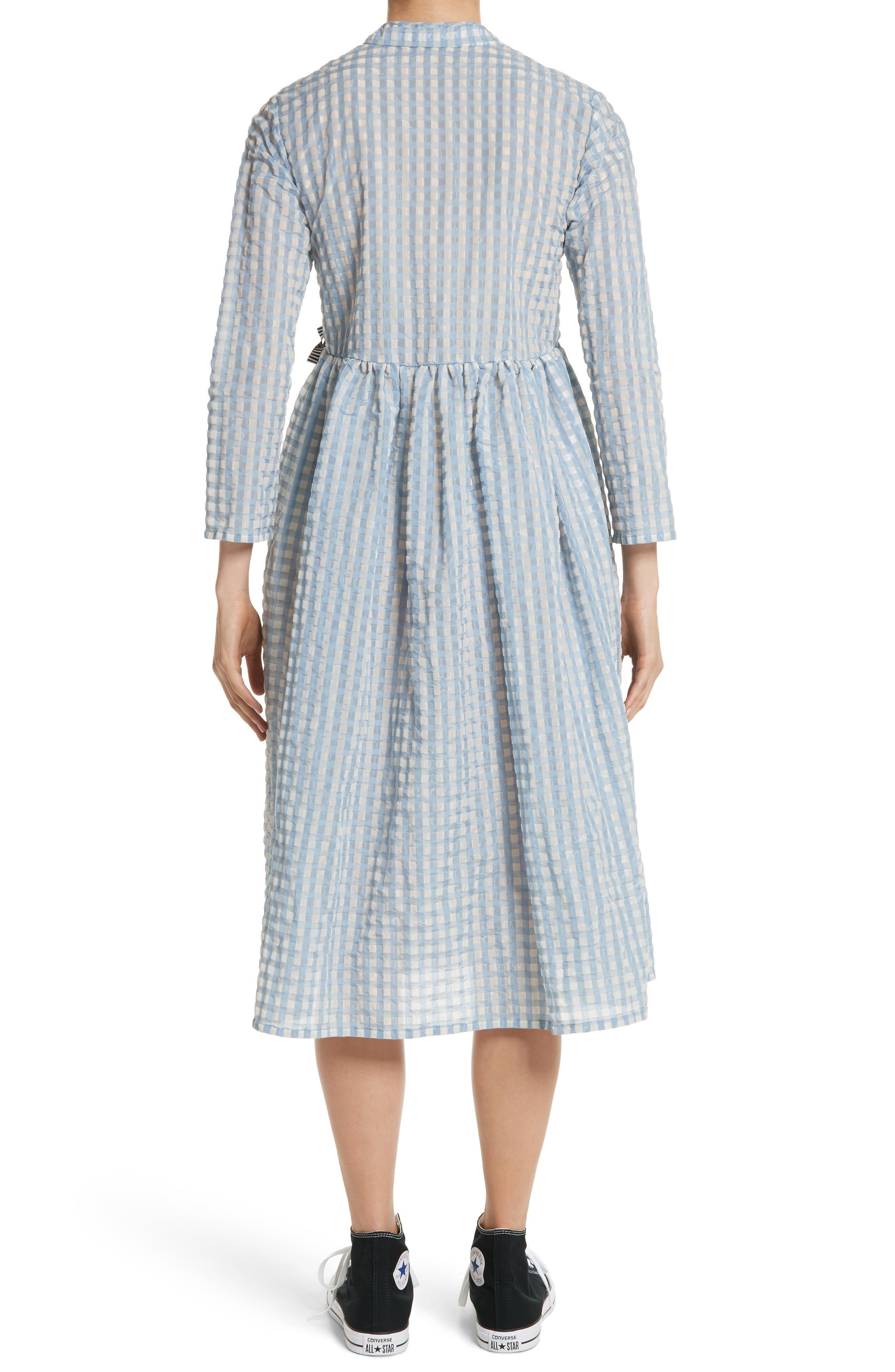 Hermione Gingham Seersucker Dress,                             Alternate thumbnail 2, color,                             Blue