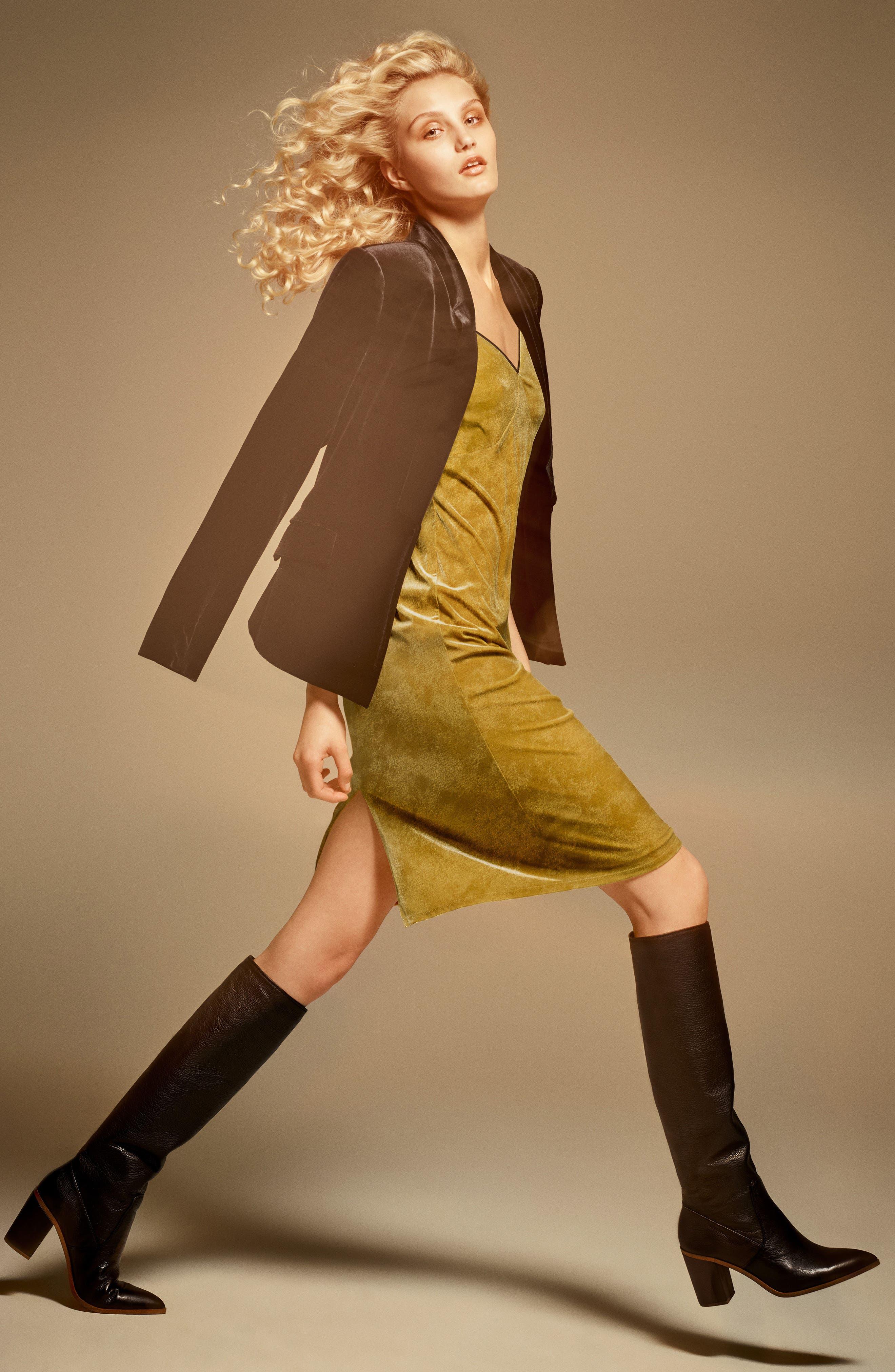 Velvet Body-Con Dress,                             Alternate thumbnail 2, color,                             Deep Gold