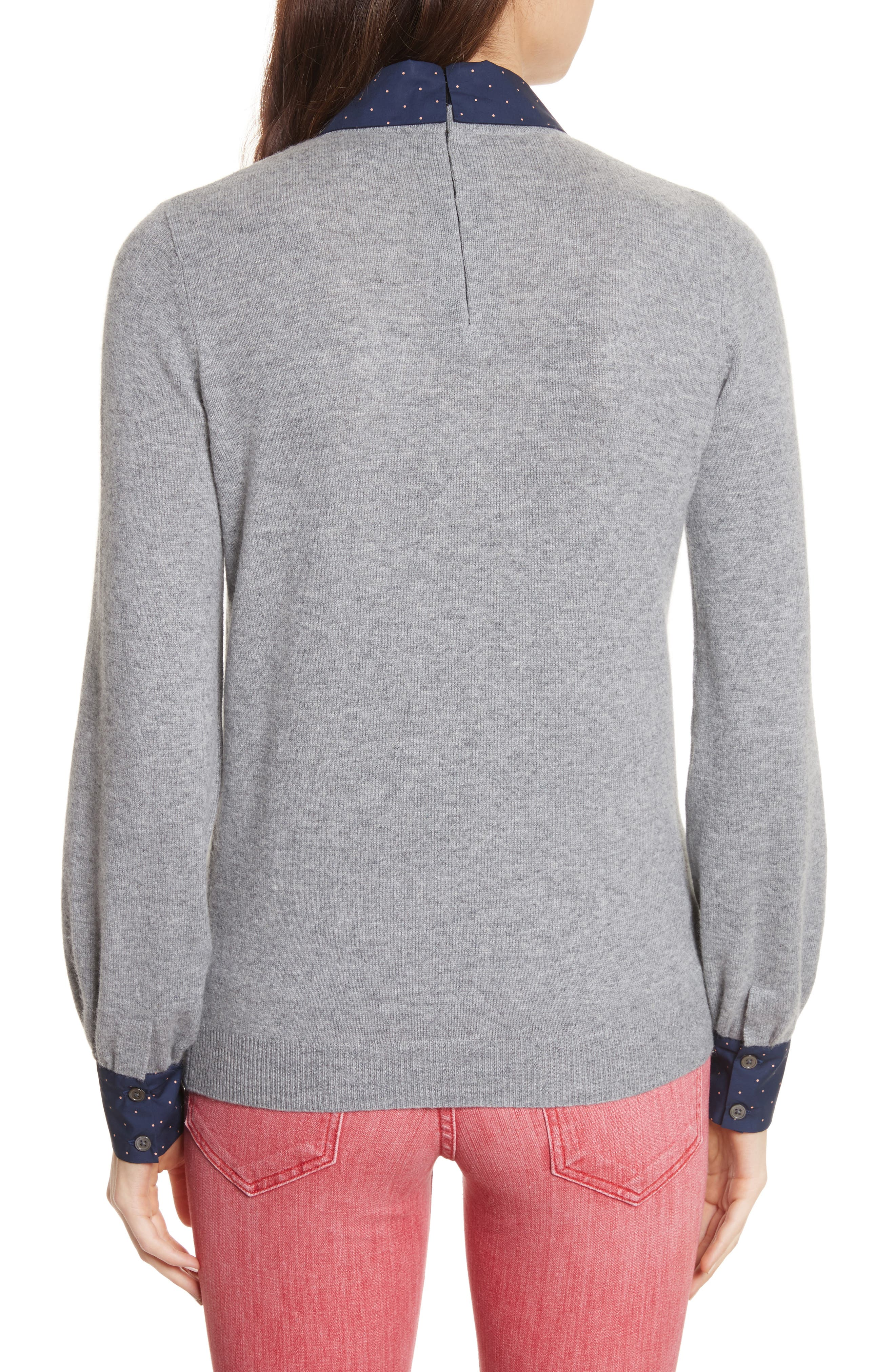 Bahiti Woven Trim Wool & Cashmere Sweater,                             Alternate thumbnail 2, color,                             Heather Grey/ Dark Navy