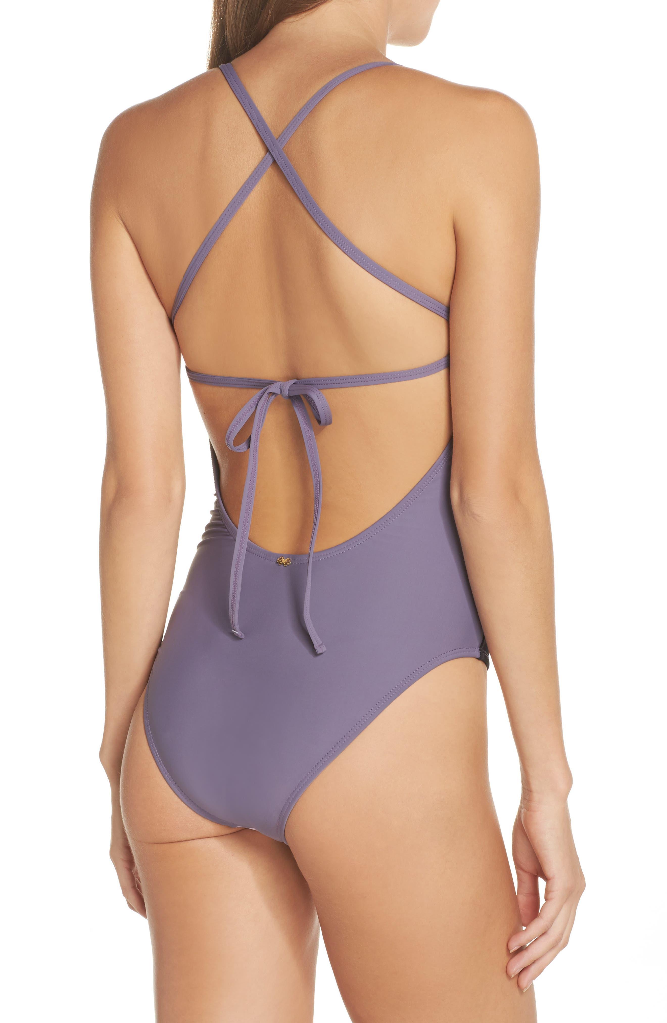 Farrah Colorblock One-Piece Swimsuit,                             Alternate thumbnail 2, color,                             Amethyst