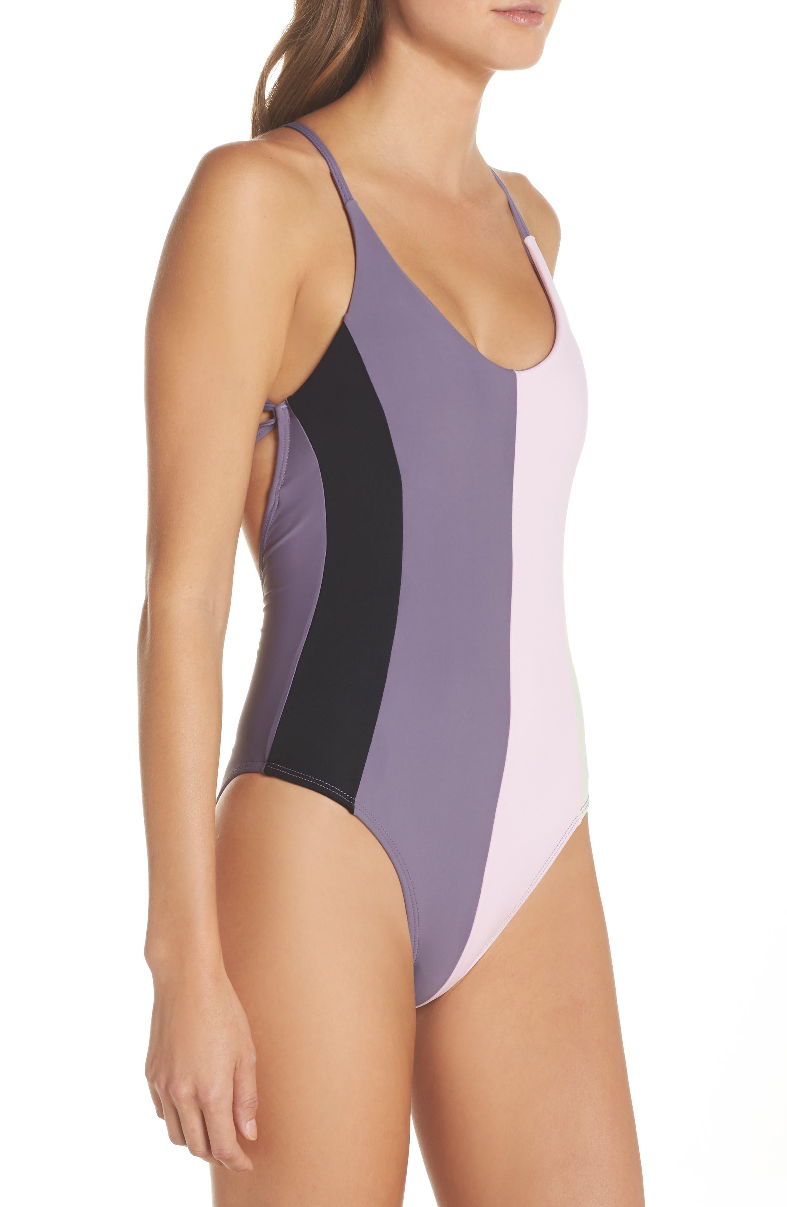 Farrah Colorblock One-Piece Swimsuit,                             Alternate thumbnail 3, color,                             Amethyst