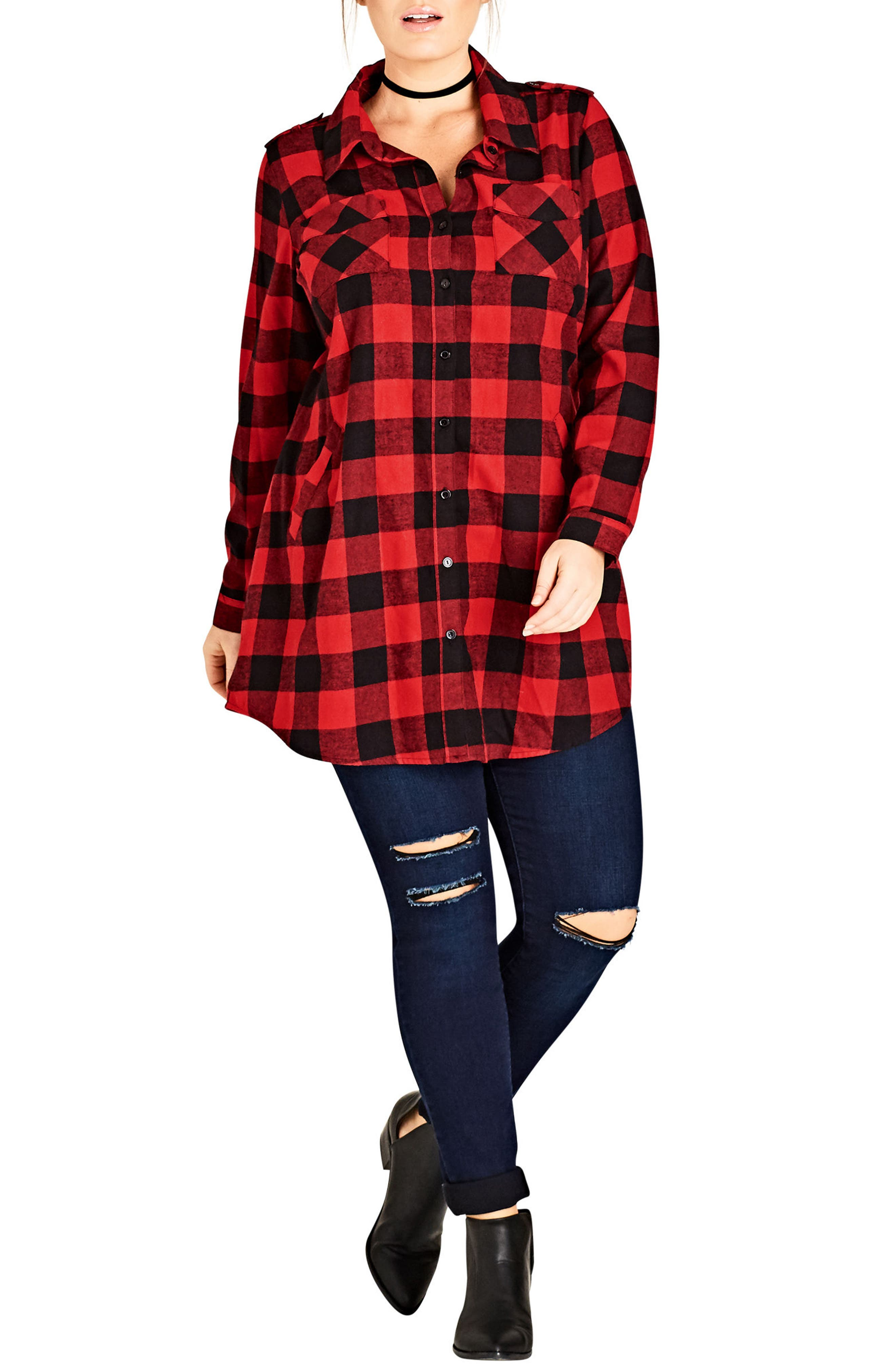 Alternate Image 3  - City Chic Check Lover Tunic (Plus Size)