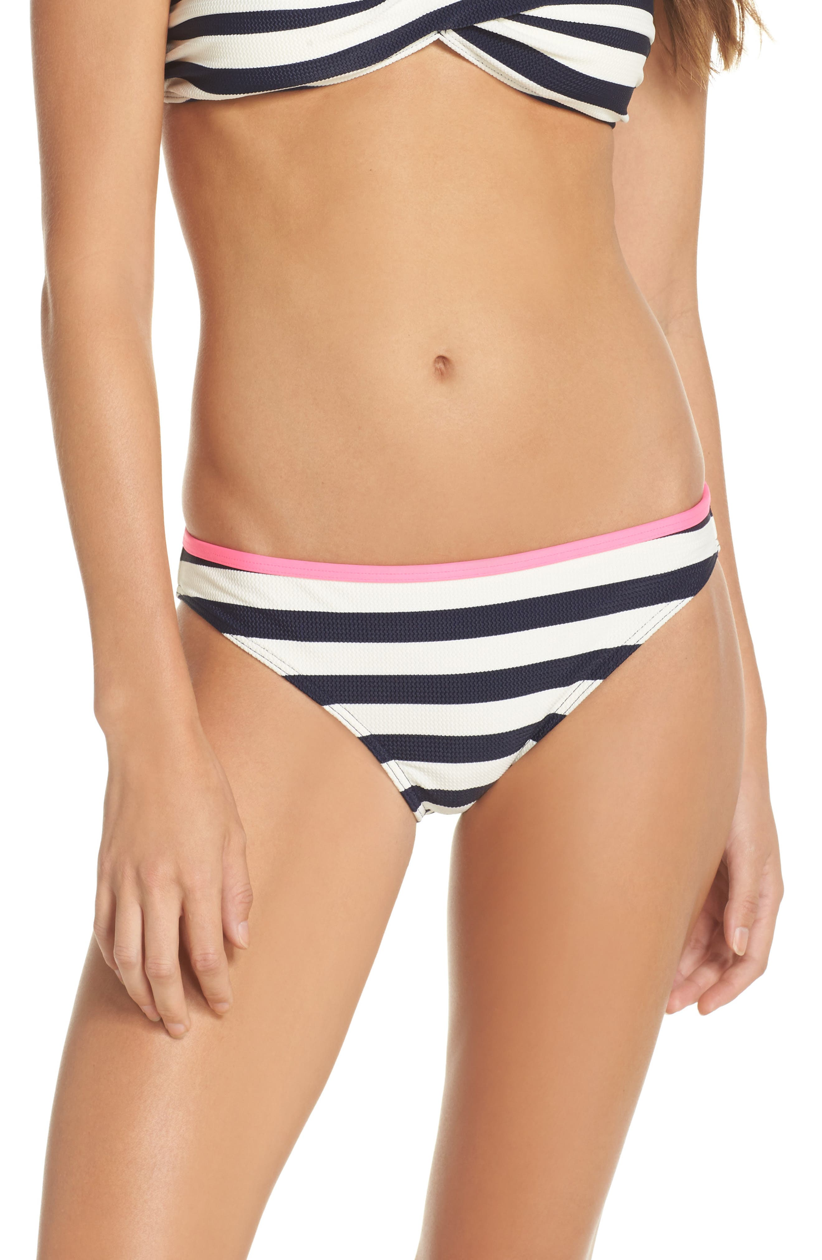 Textured Stripe Hipster Bikini Bottoms,                             Main thumbnail 1, color,                             Navy