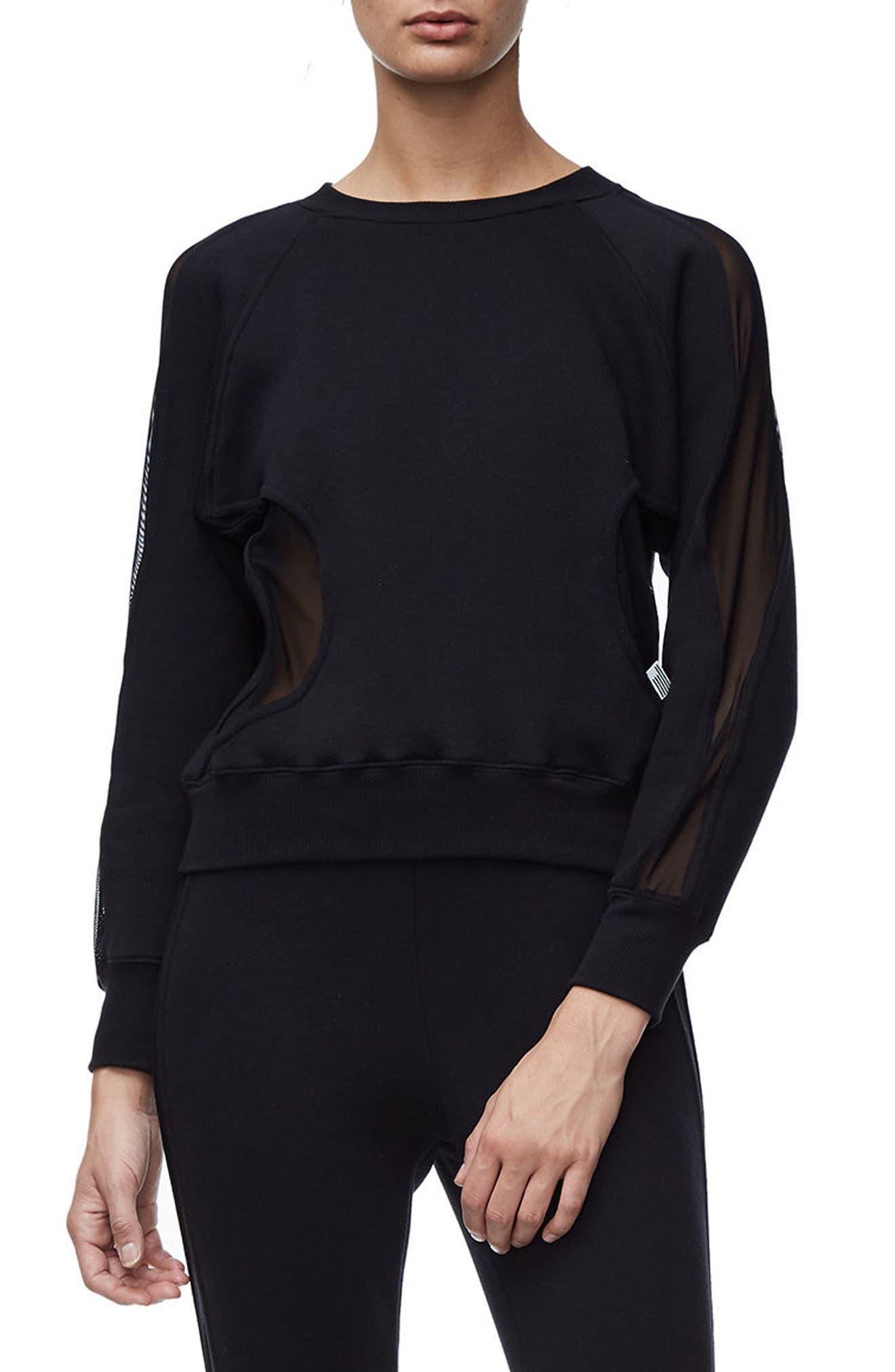 Good Sweats Mesh Inset Sweatshirt,                             Main thumbnail 1, color,                             Good Black