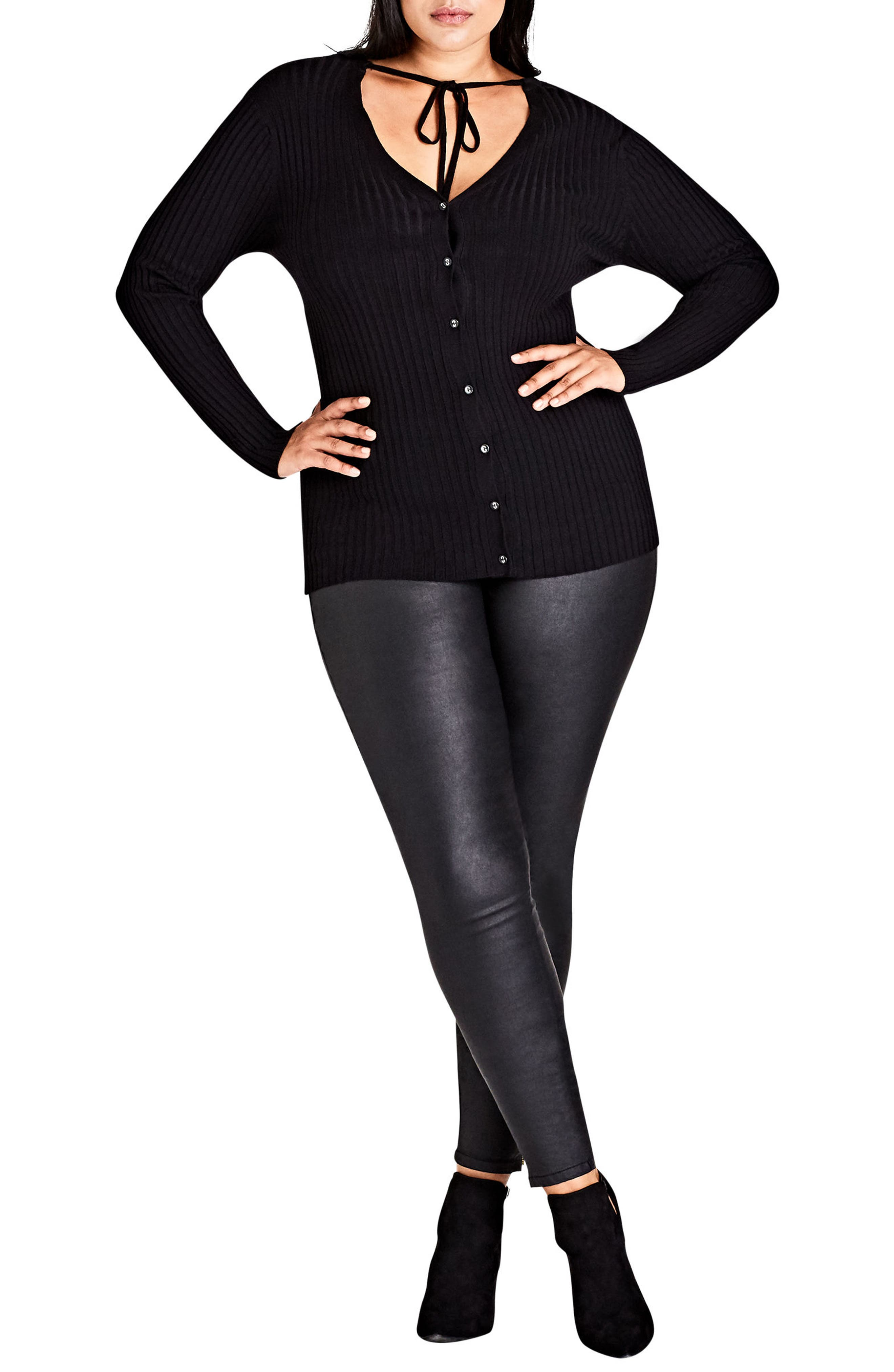 Alternate Image 1 Selected - City Chic Neck Tie Cardi (Plus Size)