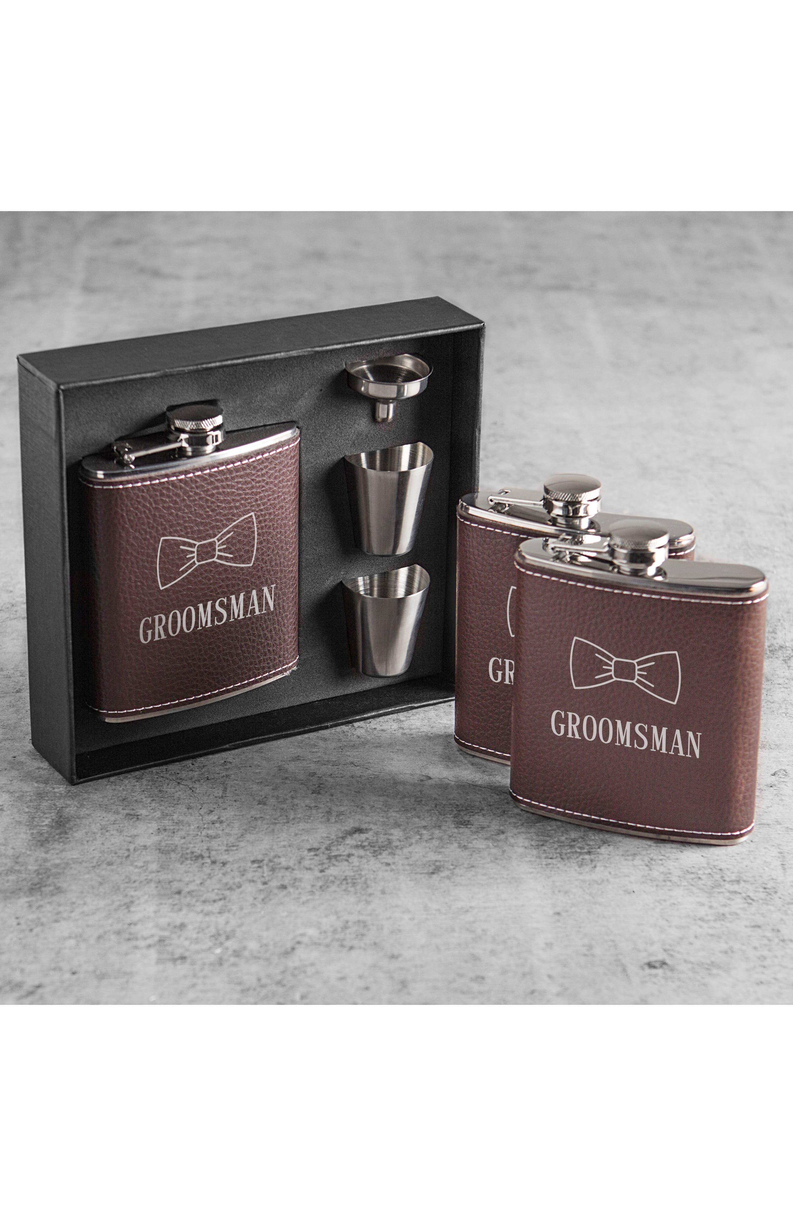 Groomsman Flask Set,                             Alternate thumbnail 3, color,                             Brown