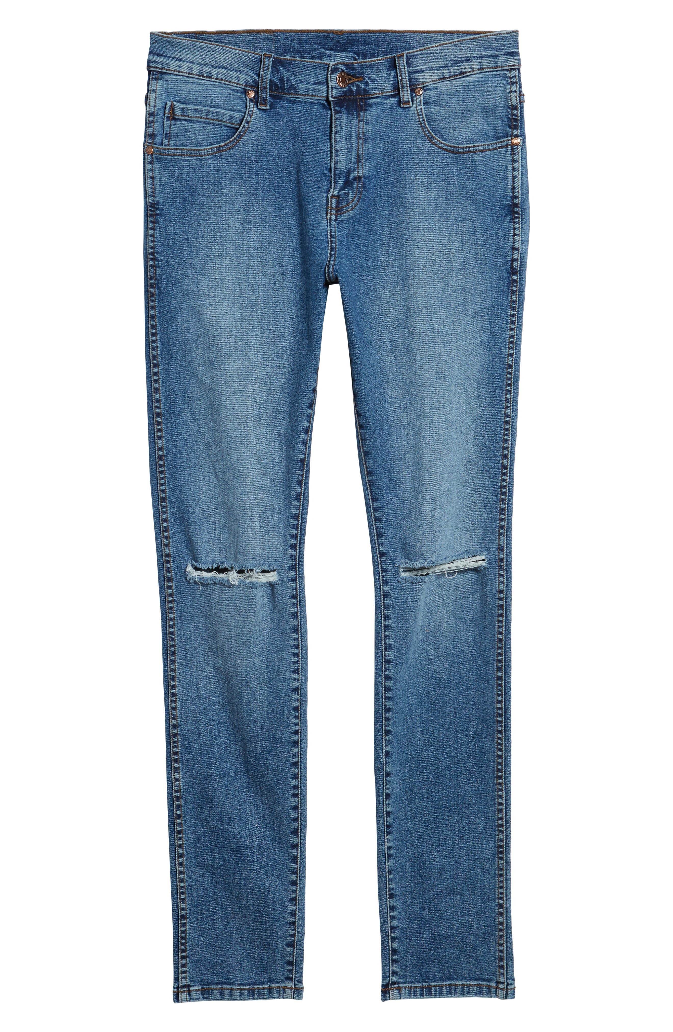 Snap Skinny Fit Jeans,                             Alternate thumbnail 6, color,                             Light Stone Destroyed