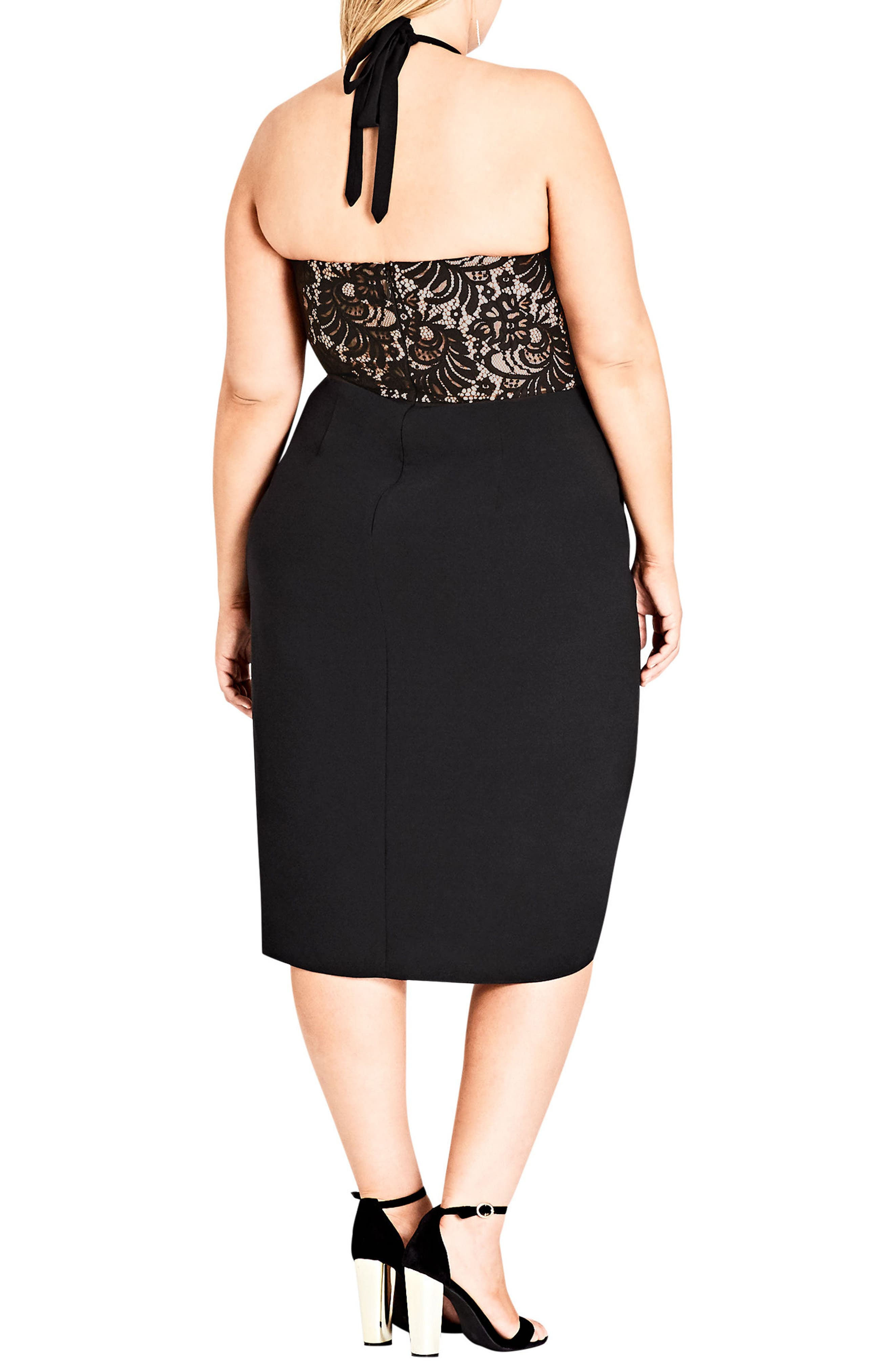 Alternate Image 2  - City Chic Lady Portia Halter Dress (Plus Size)