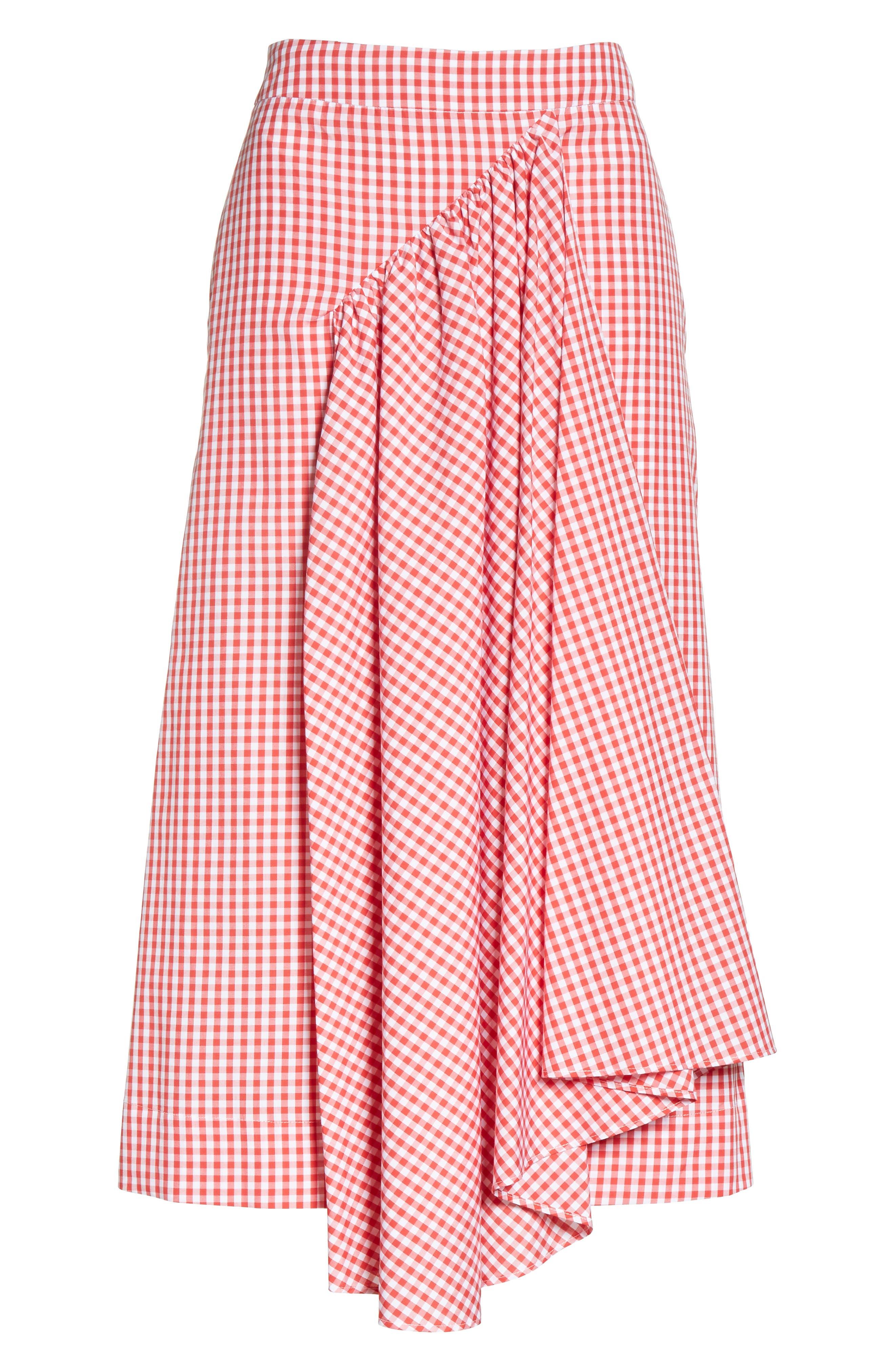Three-Panel Gingham Midi Skirt,                             Main thumbnail 1, color,                             Red/ White