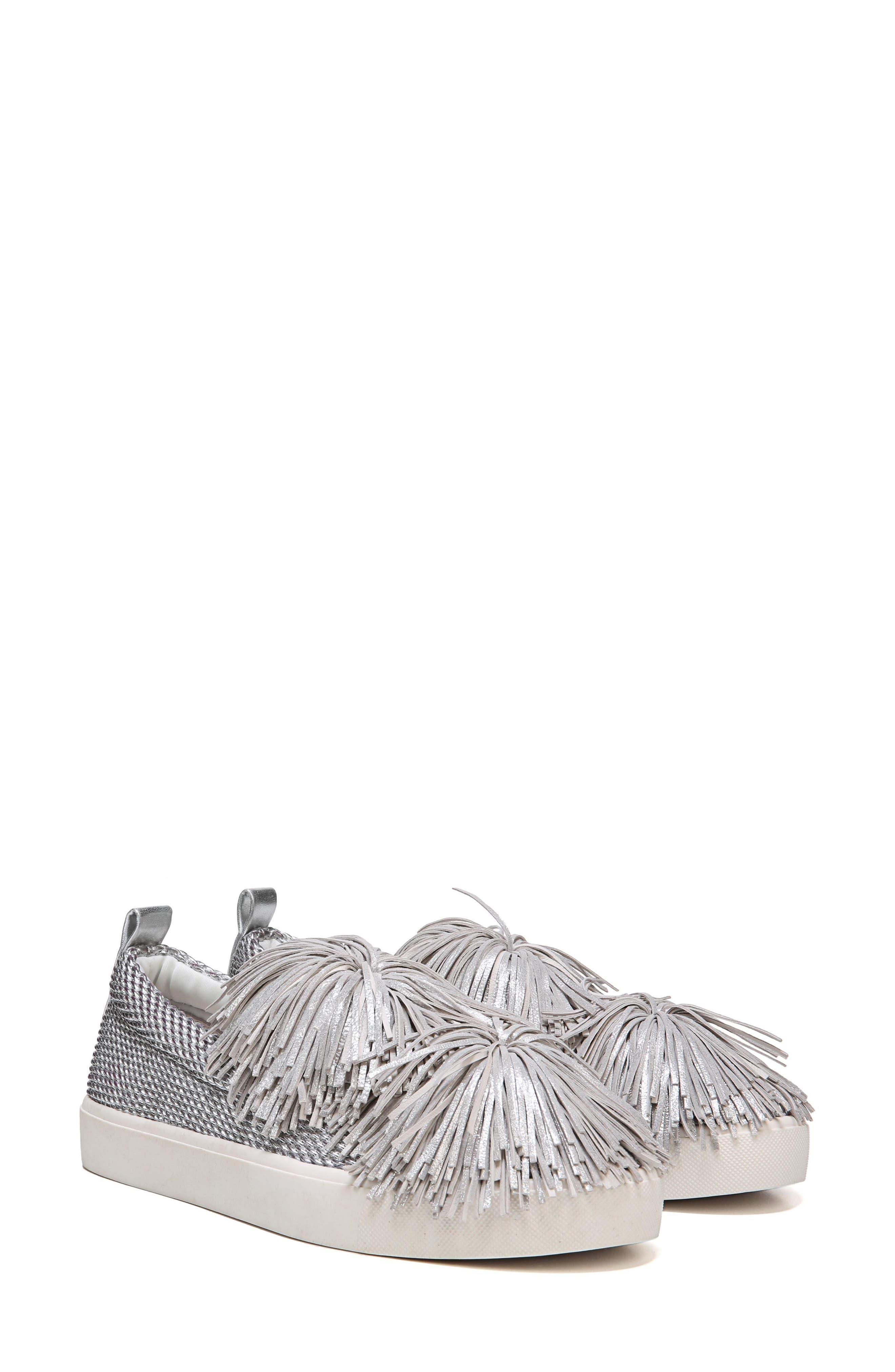 Emory Fringe Pompom Sneaker,                             Alternate thumbnail 9, color,                             Metallic Silver