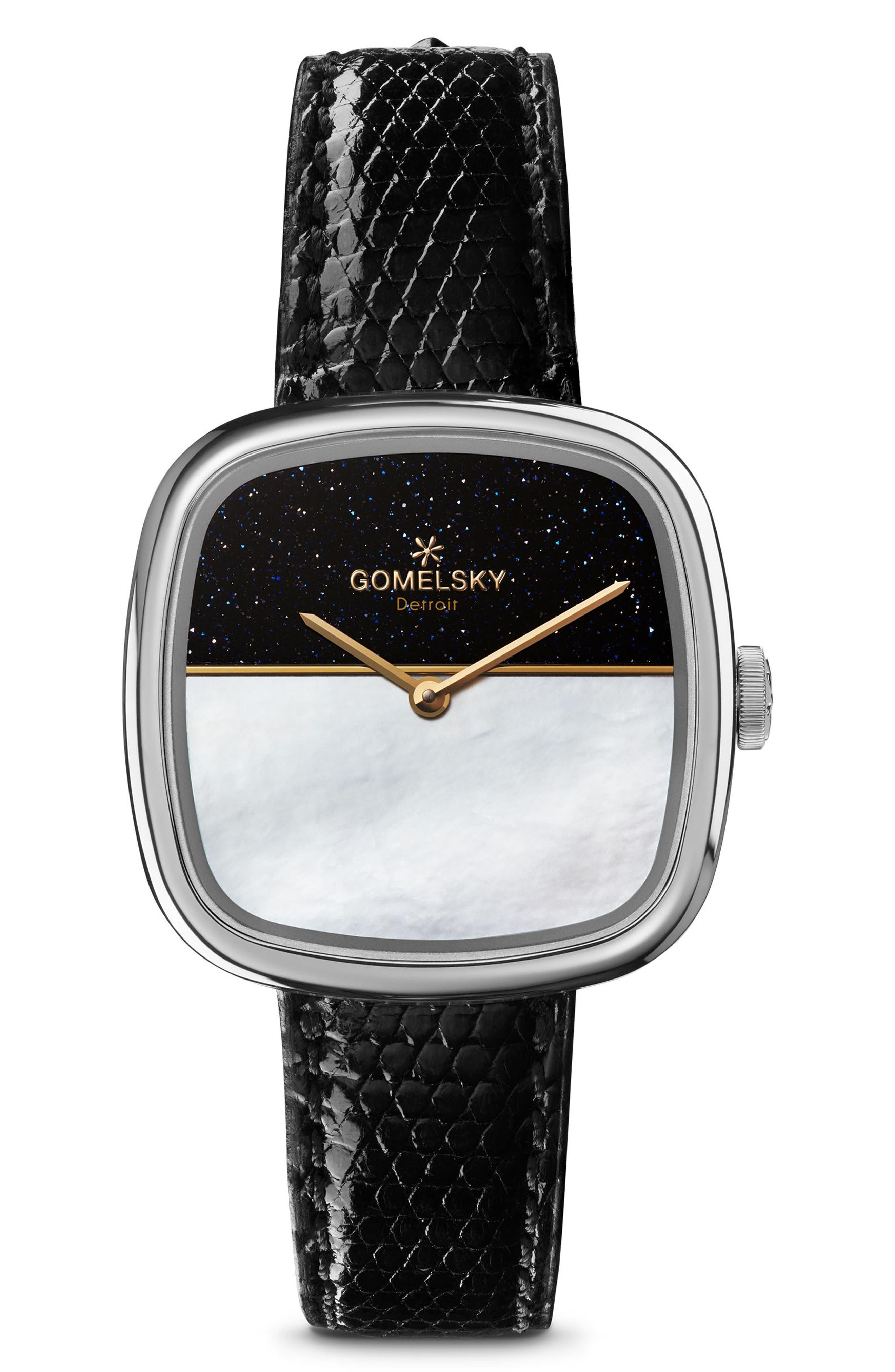 The Eppie Sneed Mini Lizardskin Strap Watch, 32mm,                         Main,                         color, Black/ Mop Sandstone/ Silver