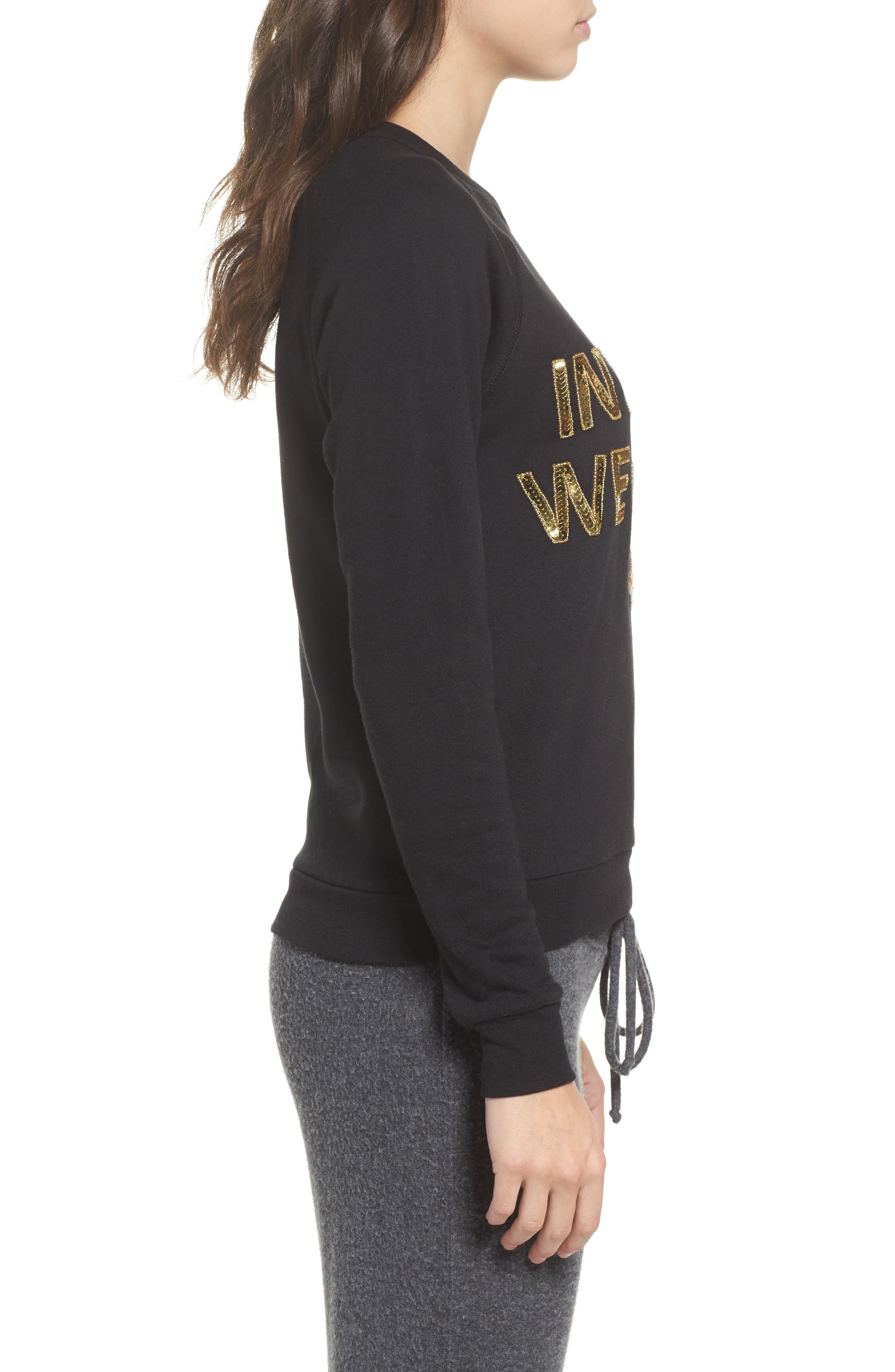 In Pizza We Crust French Terry Sweatshirt,                             Alternate thumbnail 3, color,                             Black