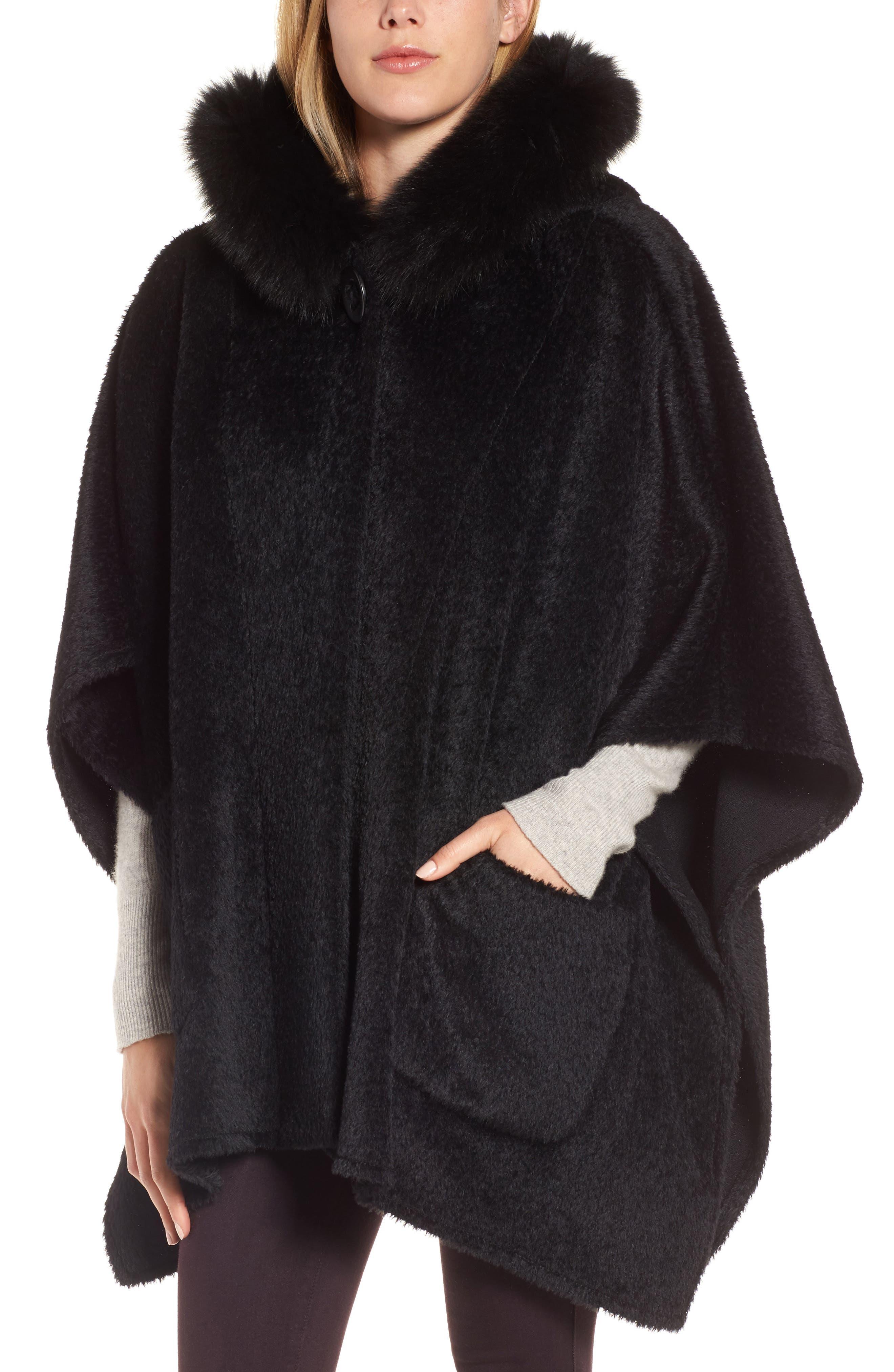 Hooded Genuine Fox Fur Trim Wool Blend Cape,                         Main,                         color, Black