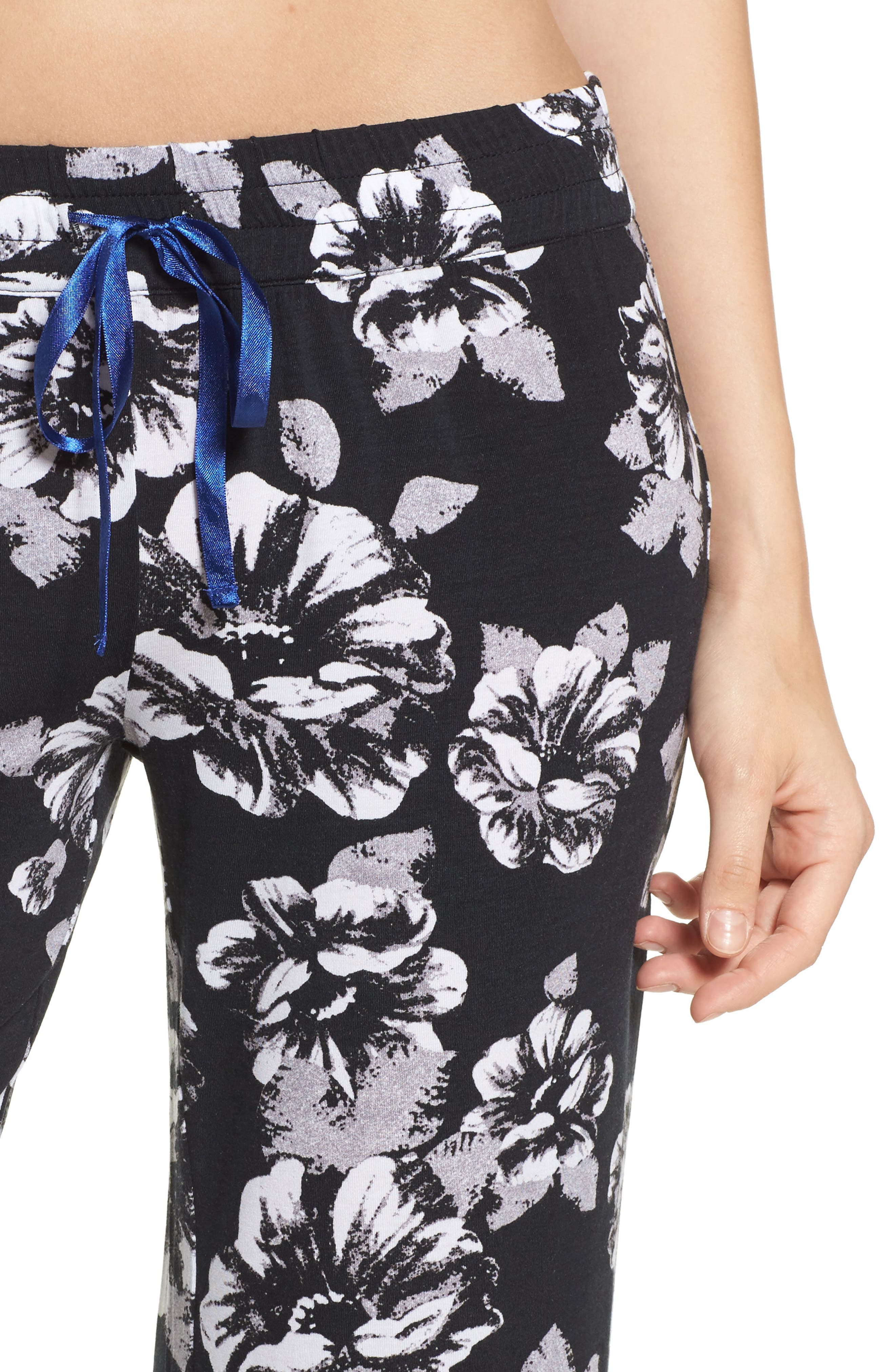 Floral Pajama Pants,                             Alternate thumbnail 4, color,                             Black