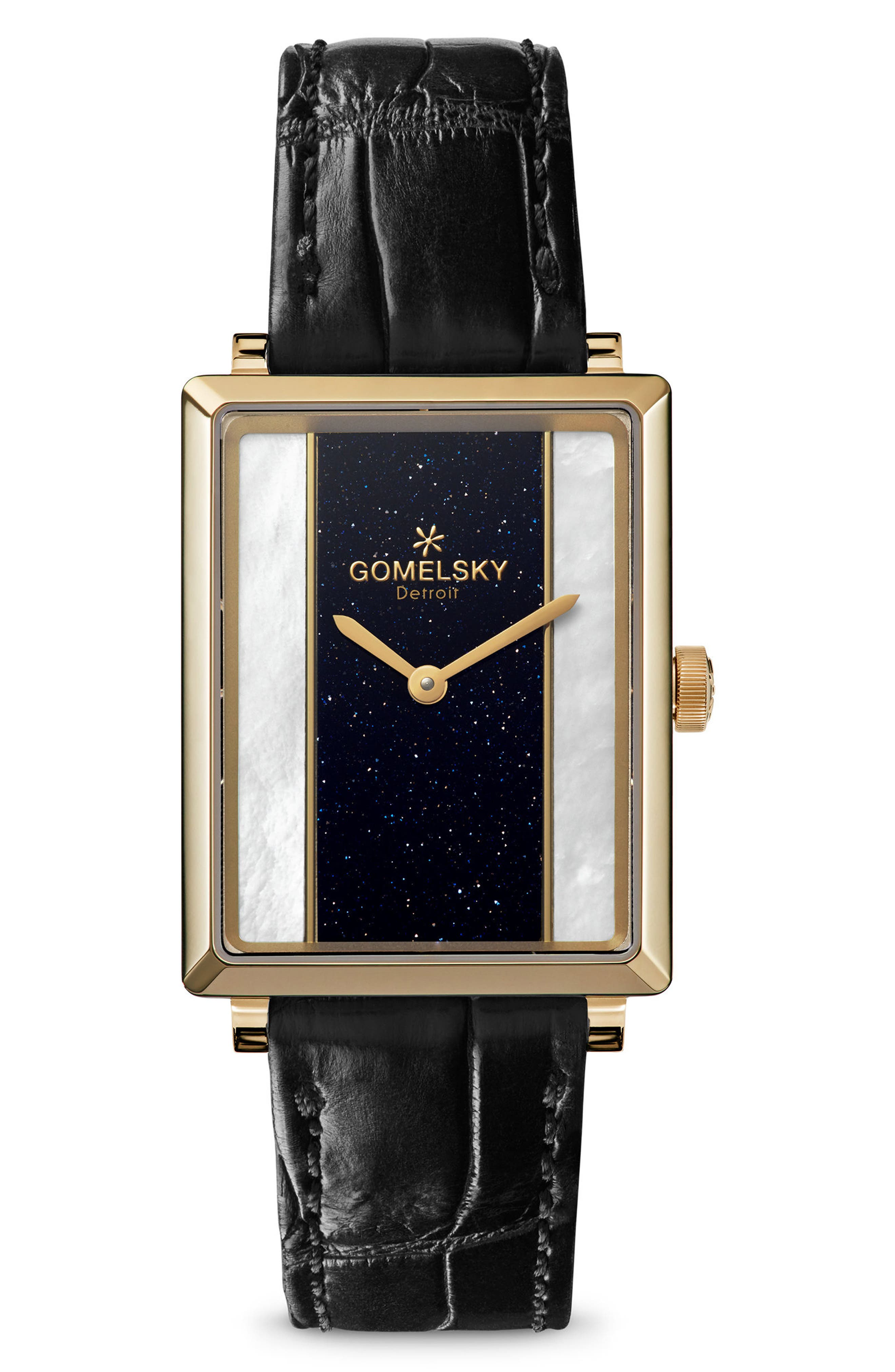 The Shirley Fromer Alligator Strap Watch, 32mm x 25mm,                         Main,                         color, Black/ Mop Sandstone/ Gold