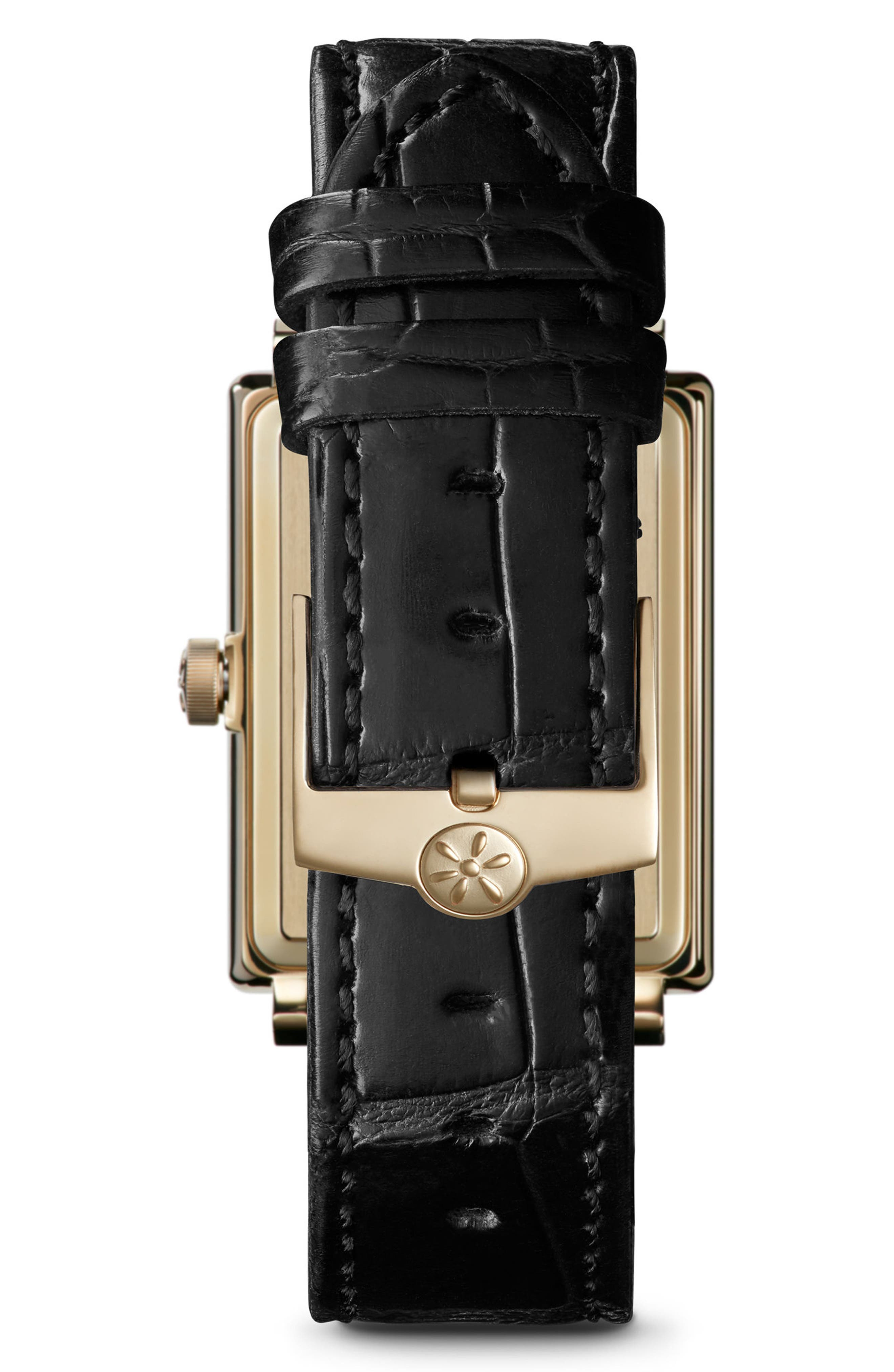 The Shirley Fromer Alligator Strap Watch, 32mm x 25mm,                             Alternate thumbnail 2, color,                             Black/ Mop Malachite/ Gold