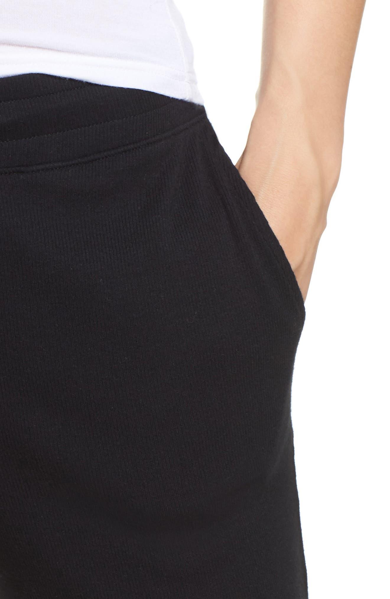 Carmin Crop Lounge Pants,                             Alternate thumbnail 4, color,                             Black