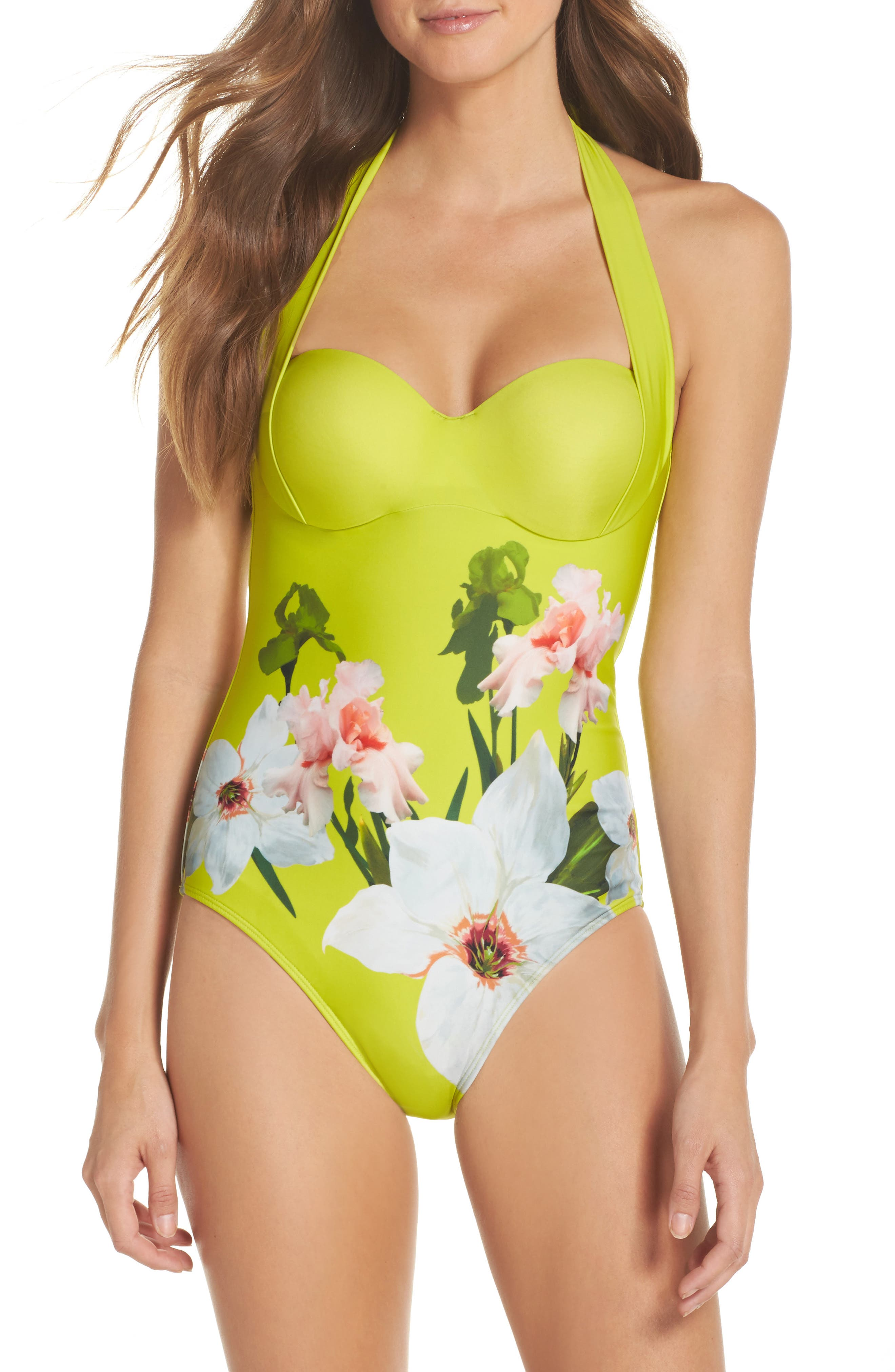 Chatsworth Bloom One-Piece Swimsuit,                             Main thumbnail 1, color,                             Light Green