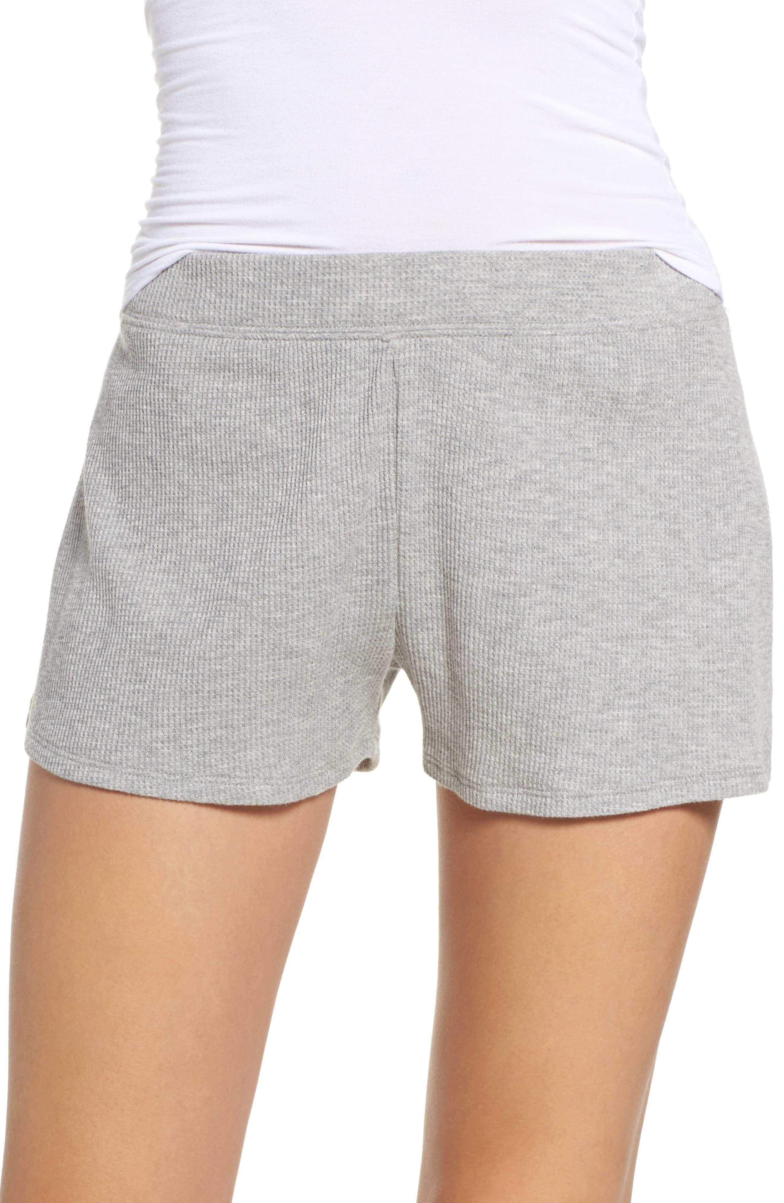 Waffle Knit Lounge Shorts,                             Main thumbnail 1, color,                             Heather Grey