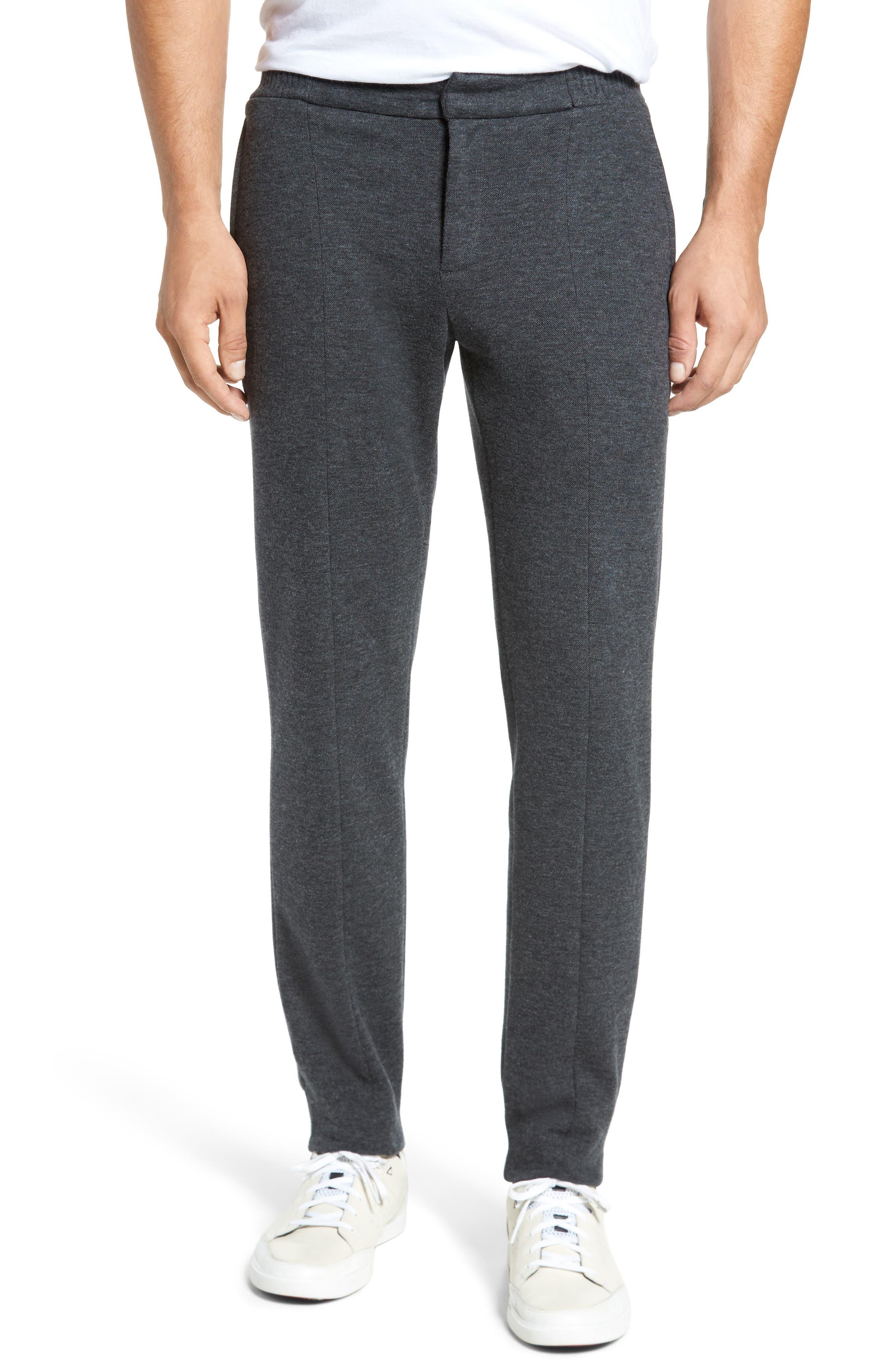 Jordan Flat Front Cotton Jogger Trousers,                         Main,                         color, Medium Grey