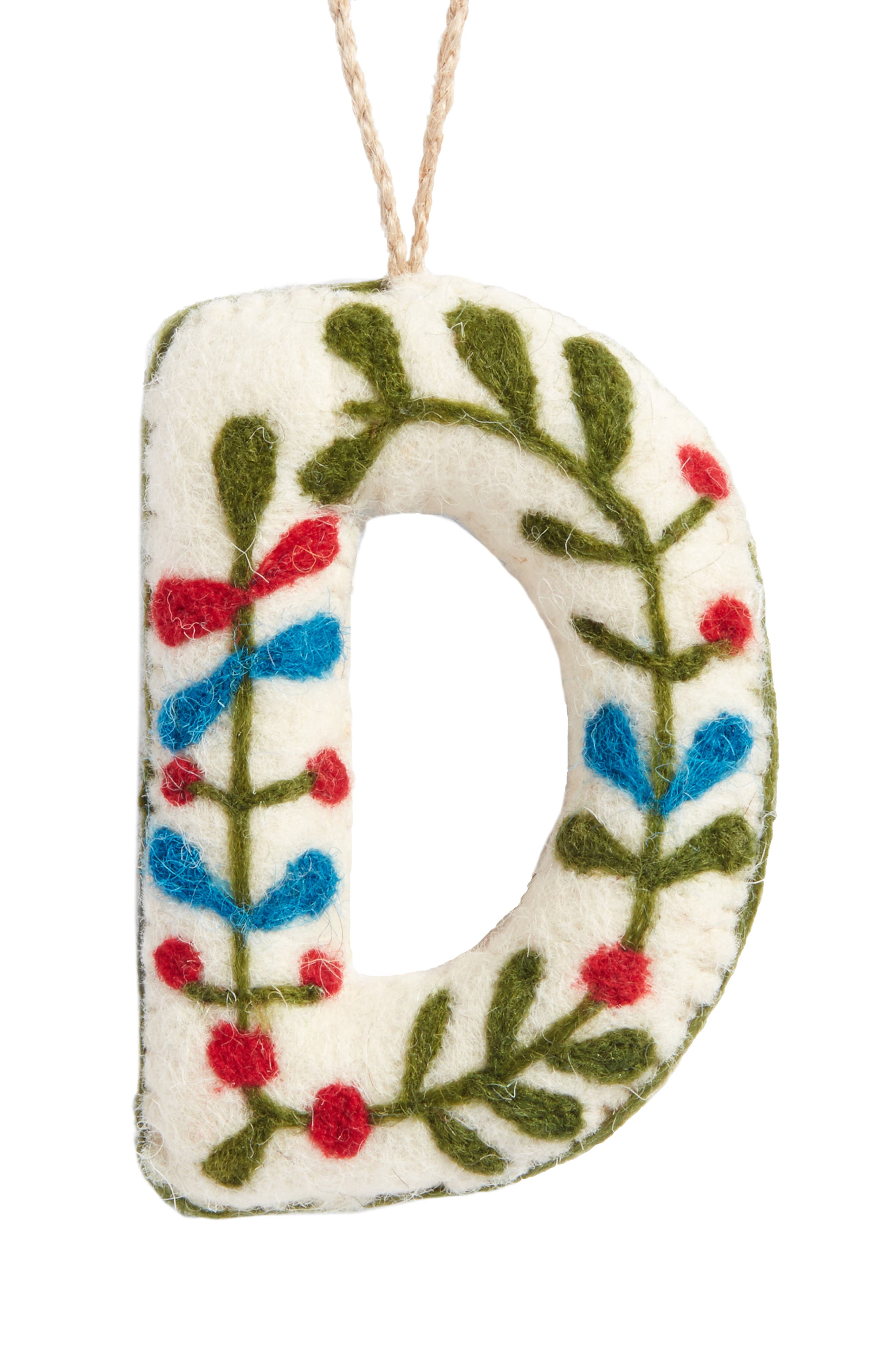 Global Folk Wool Monogram Ornament,                             Main thumbnail 1, color,                             Ivory D