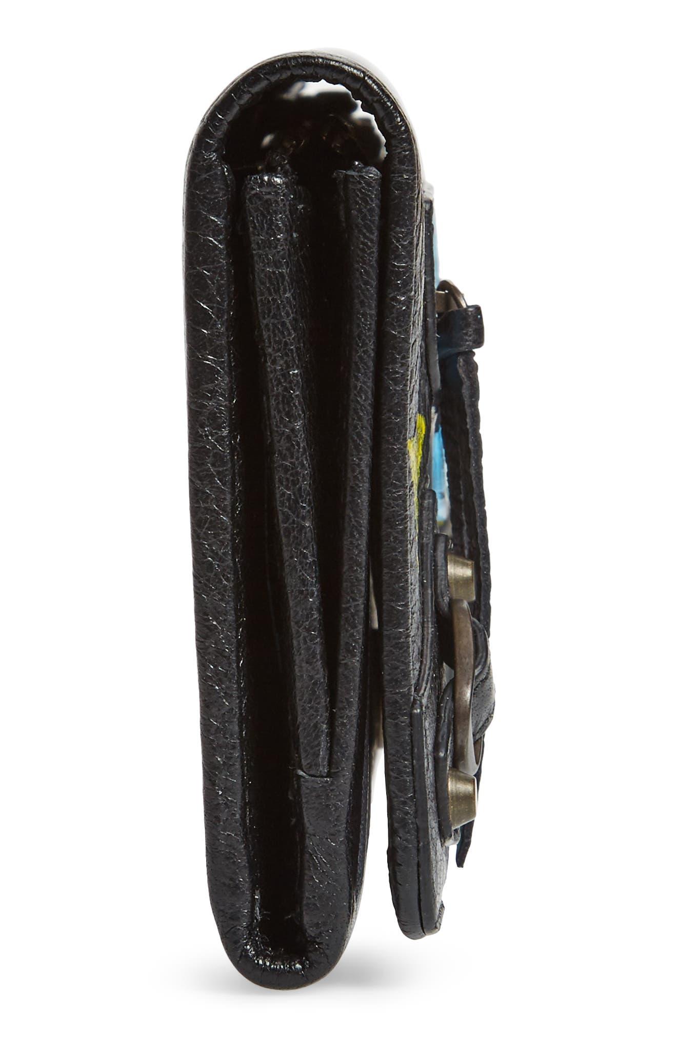 Classic Graffiti Leather Wallet,                             Alternate thumbnail 5, color,                             Noir/ Multi Color
