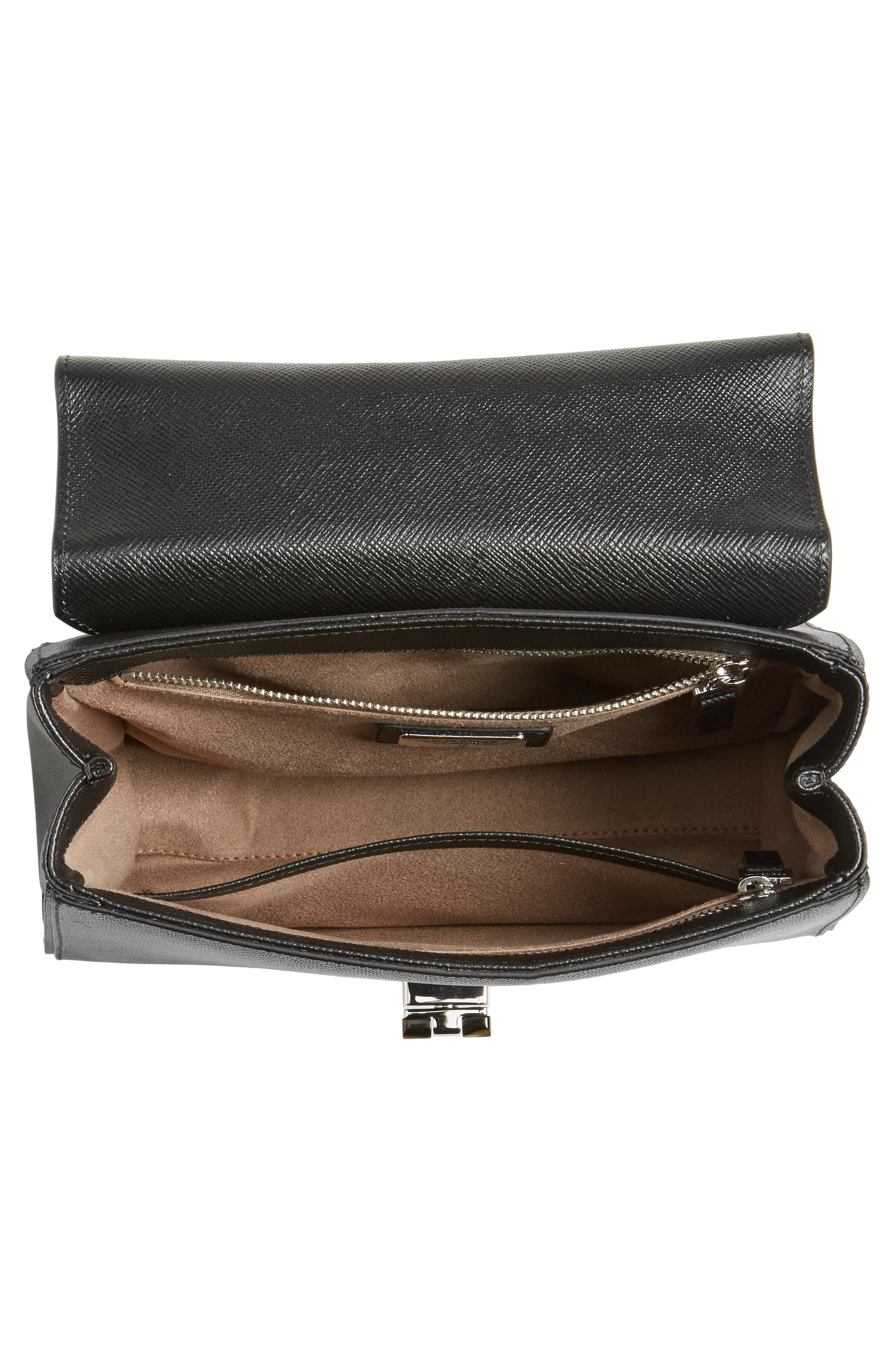 Small Elena Leather Satchel,                             Alternate thumbnail 4, color,                             Black