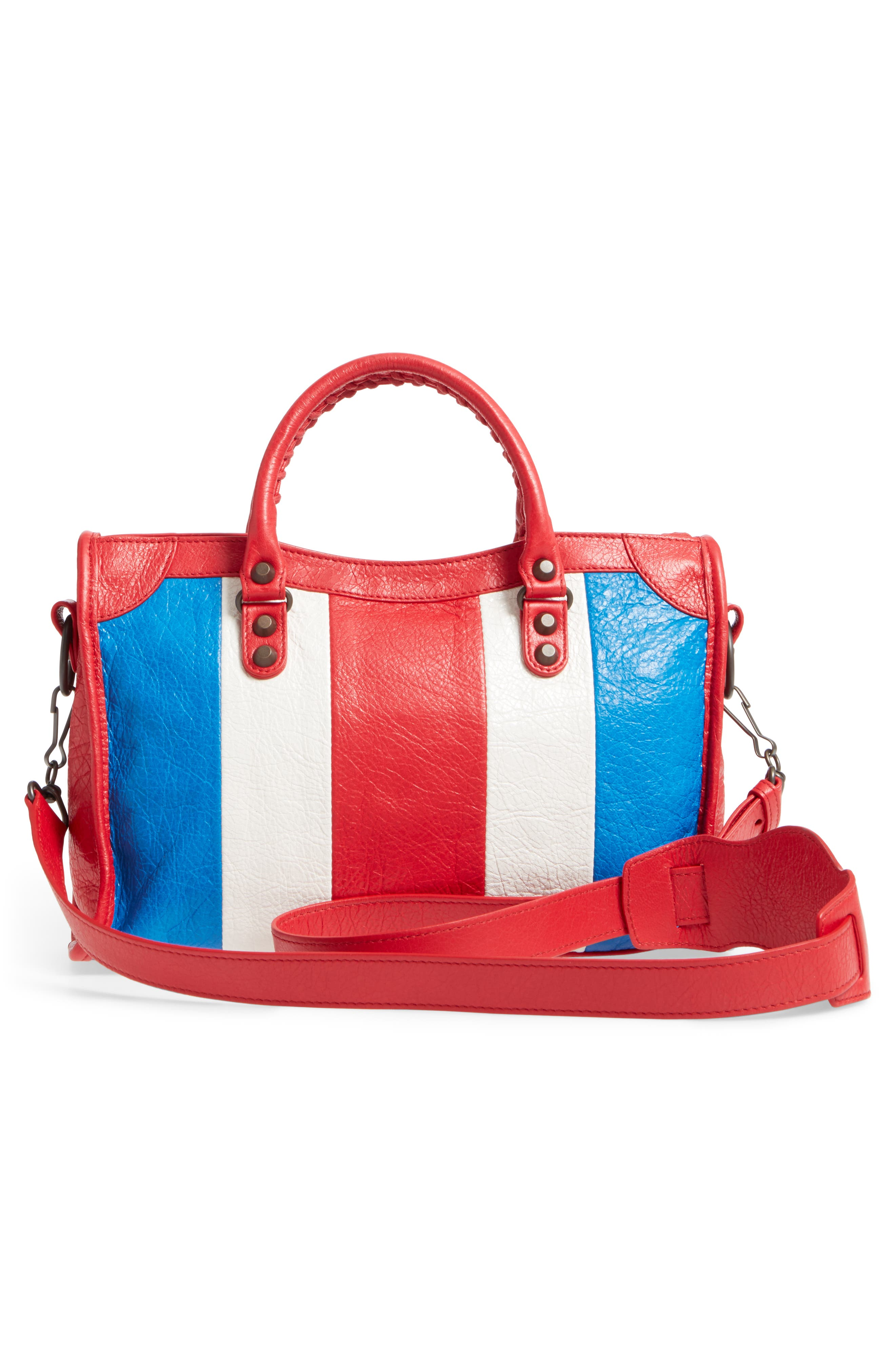 Small Classic City Leather Tote,                             Alternate thumbnail 3, color,                             Blue/ Blanc/ Rouge