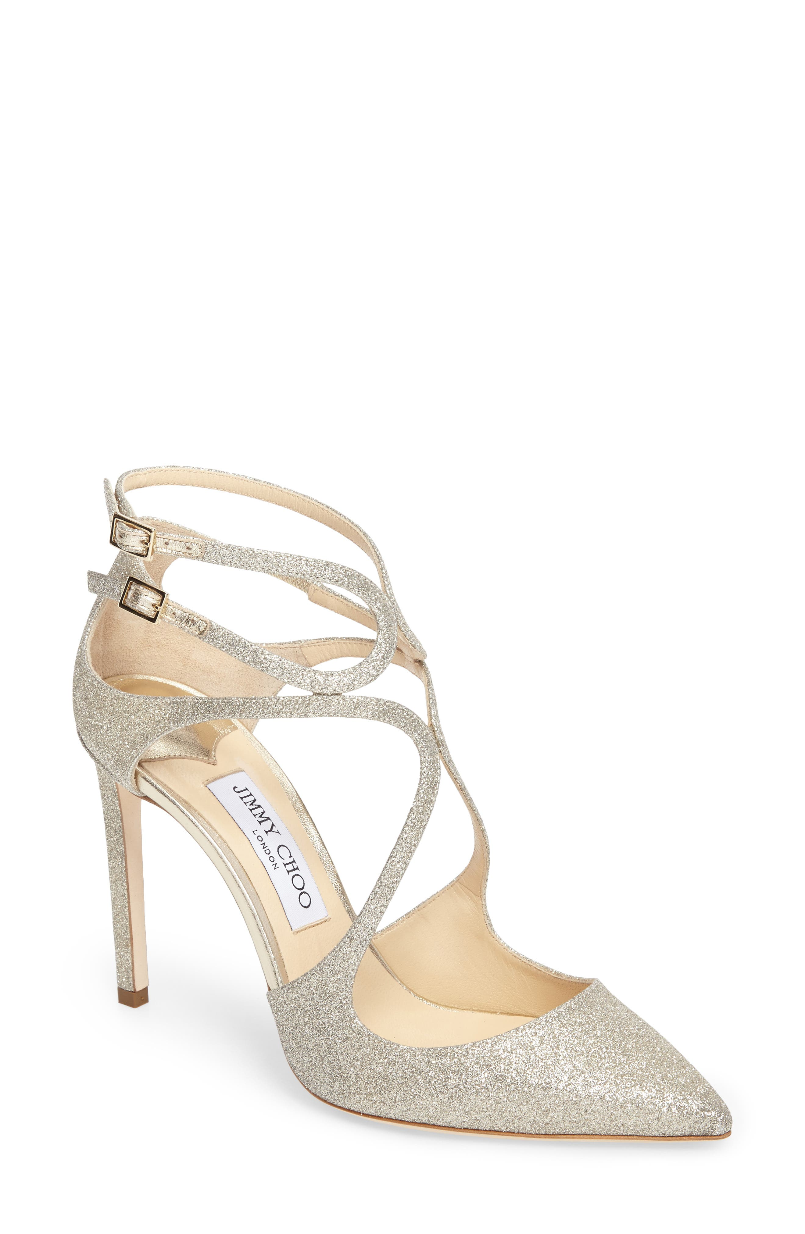 Jimmy Choo Lancer Strappy Glitter Pump (Women)